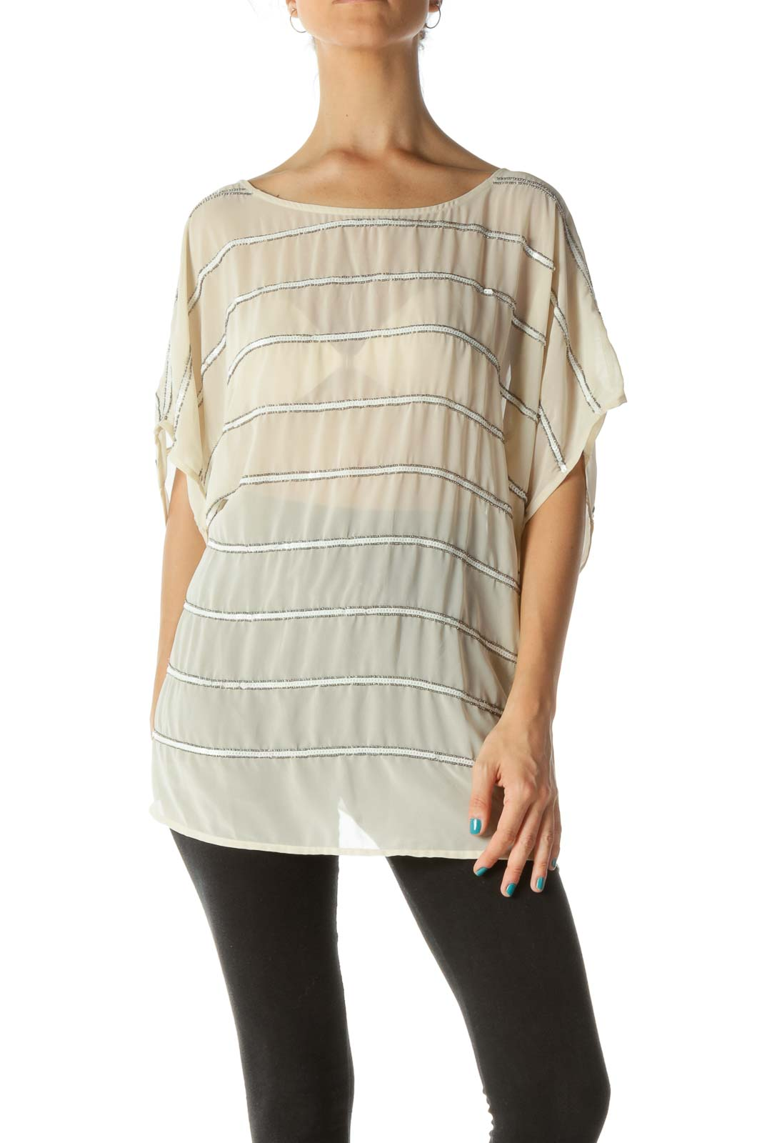 Beige Beaded and Sequined See Through Blouse Front