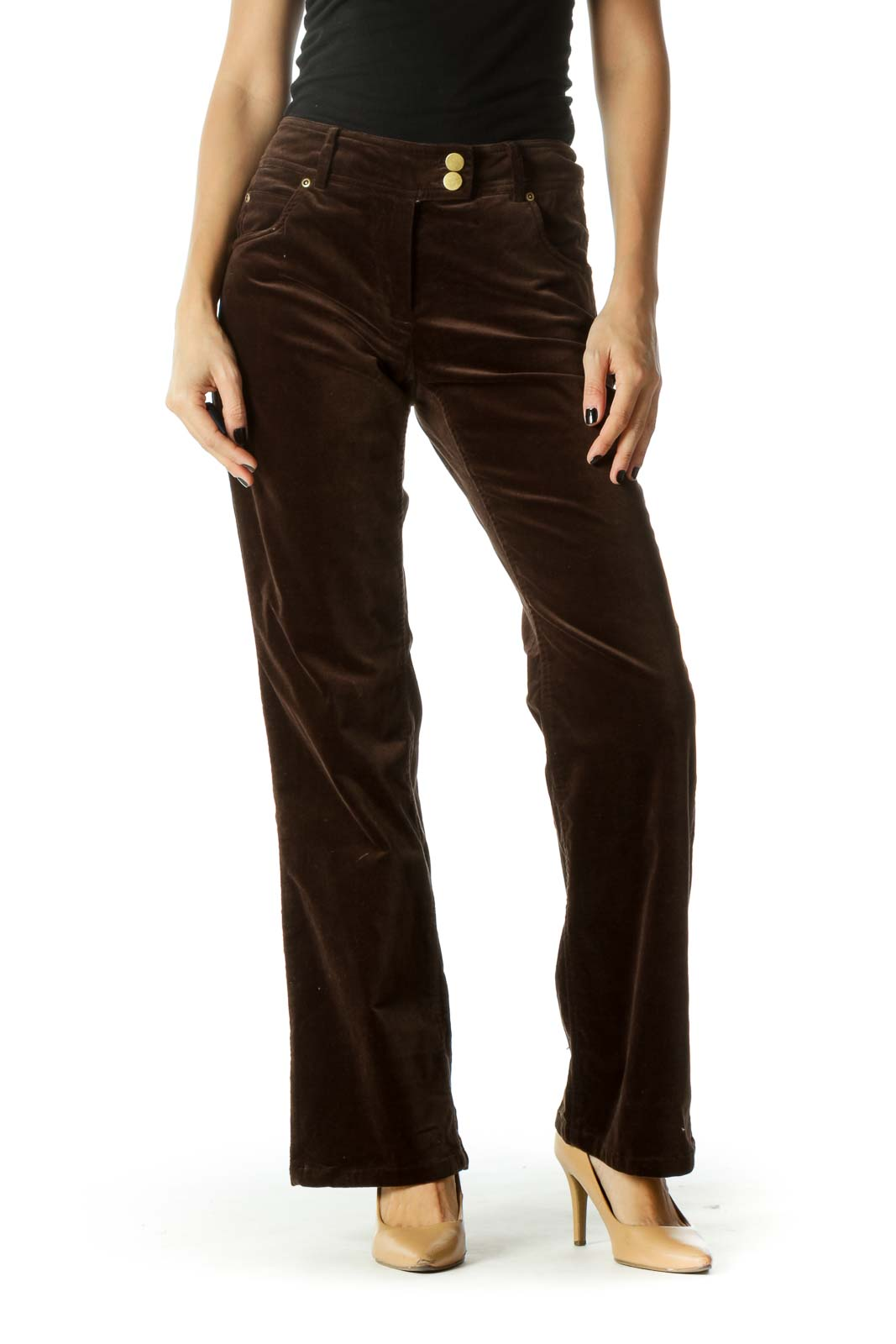 Brown Velvet Gold Hardware Straight Leg Pants Front
