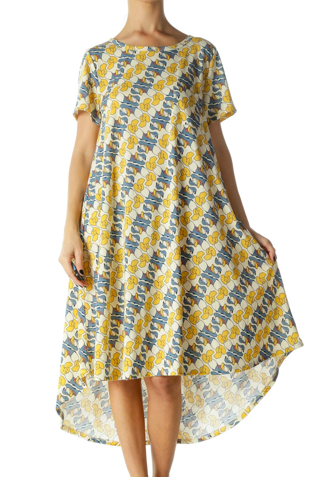 Yellow and Blue Donald Duck Print Short Sleeve Shirt Dress Front