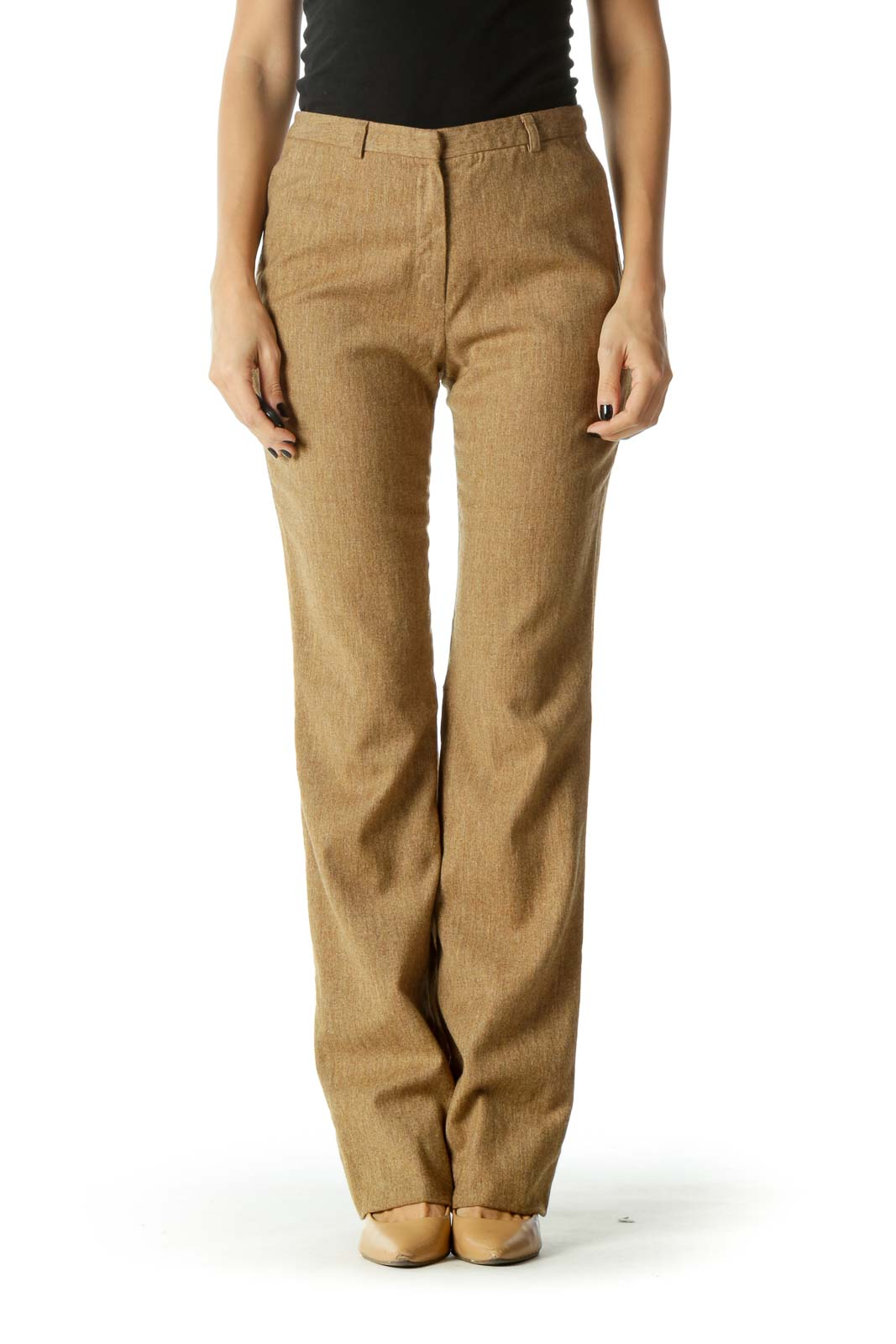 Brown High-Waisted Straight Leg Pants Front