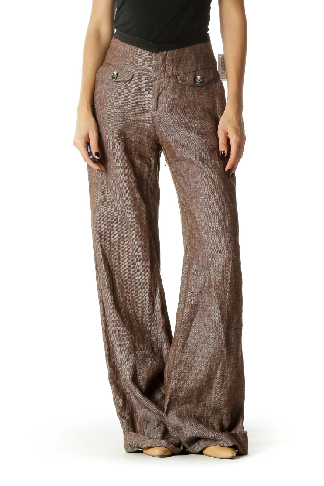 Brown High Waited Cuffed Wide Leg Pants Front
