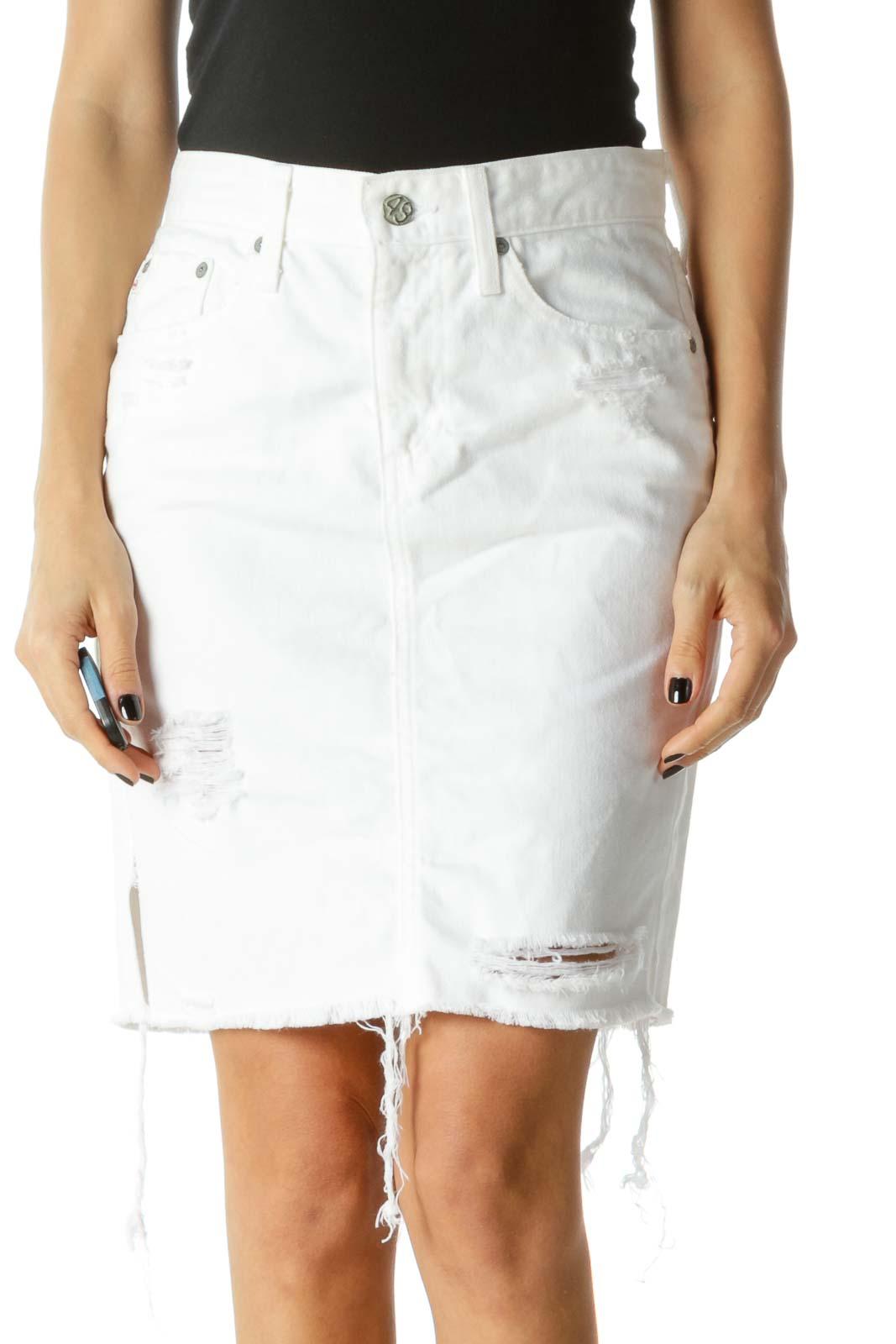 White Distressed Zipper Fly Pencil Denim Skirt Front