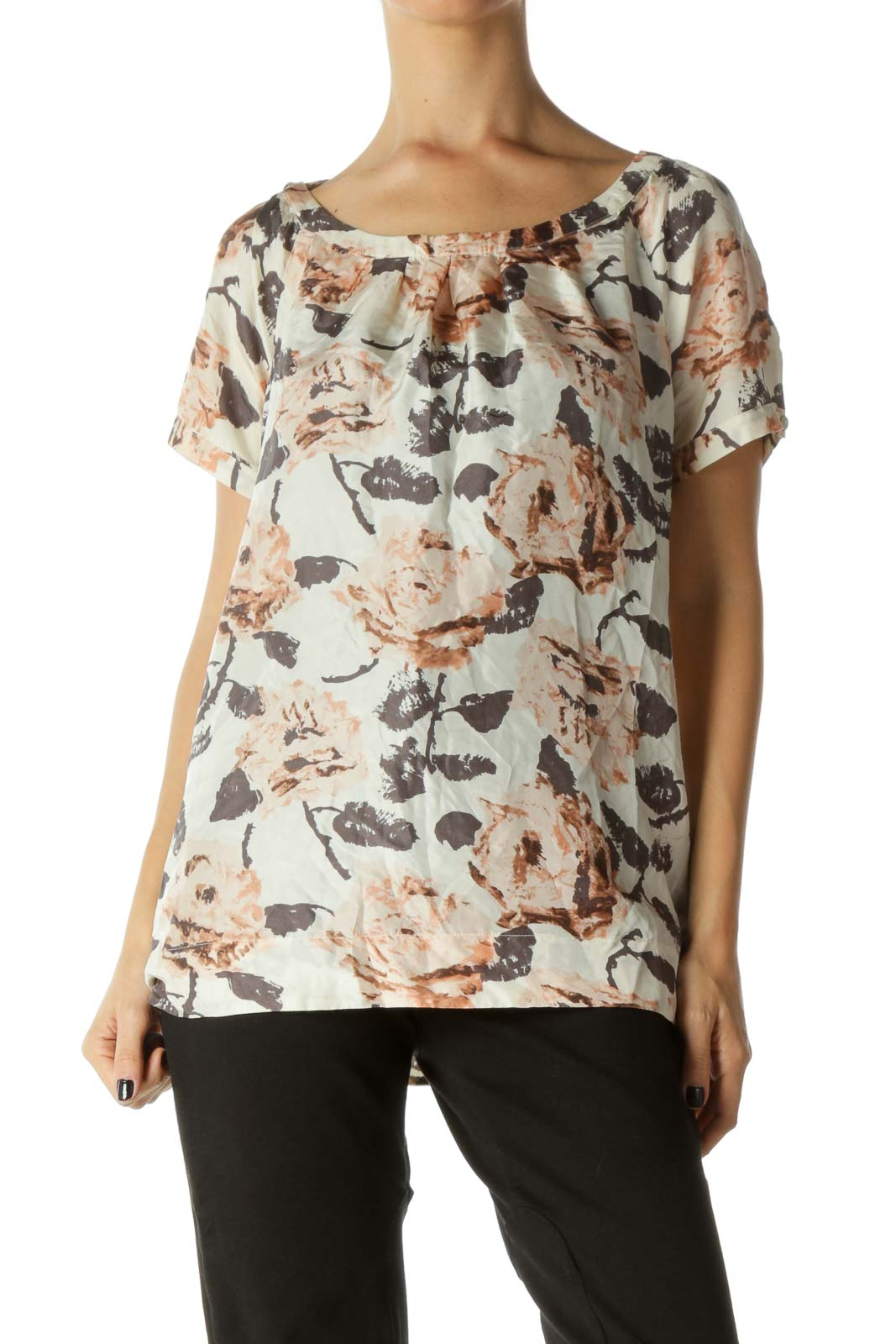 Beige, Brown and Pink Floral Print Round Neck Pleated Blouse Front