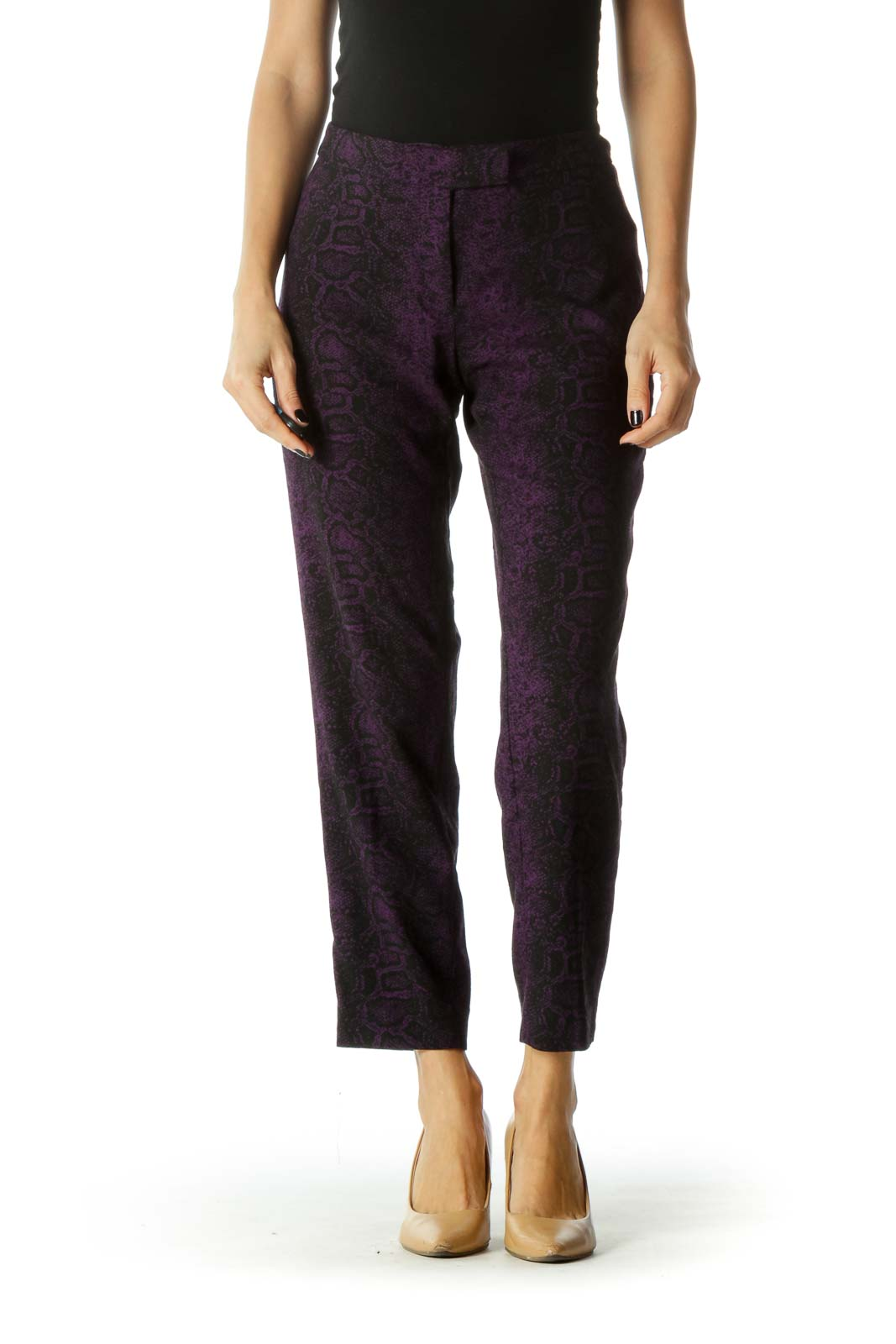 Purple and Black Snake Print Mid Rise Cropped Pants Front