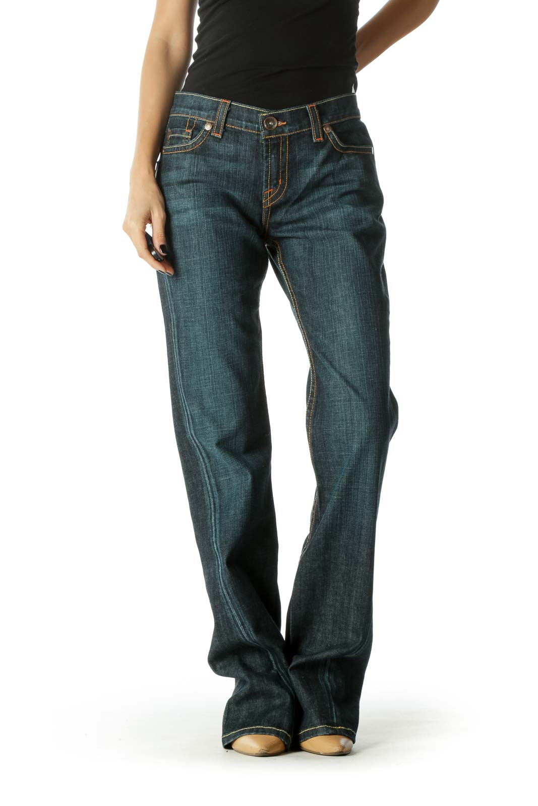 Blue Dark Wash Tinted Mid Rise Flared Jeans Front