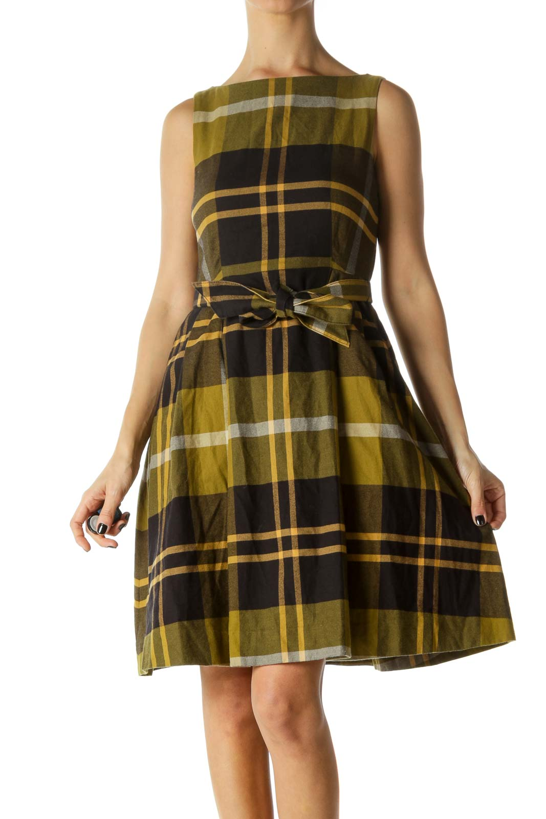 Black, Green and Beige Plaid Pocked Belted Knit Dress Front