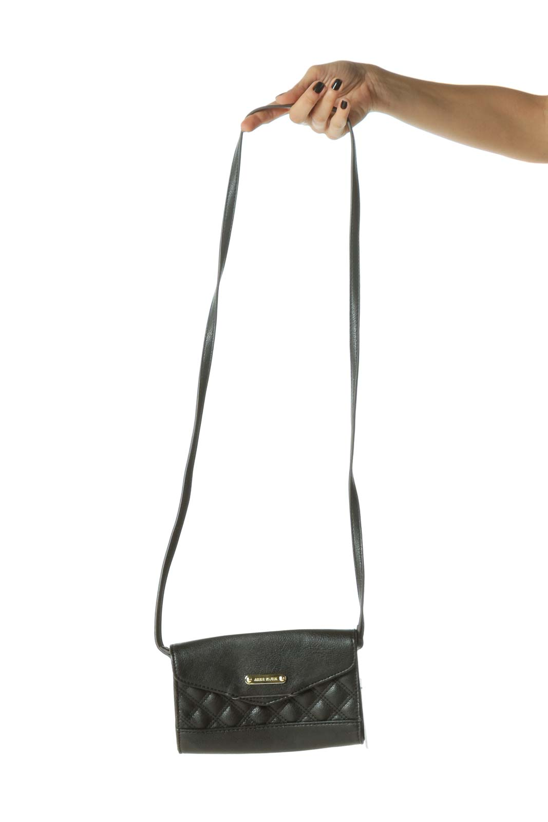 Black Quilted Wallet Size Crossbody Bag Front