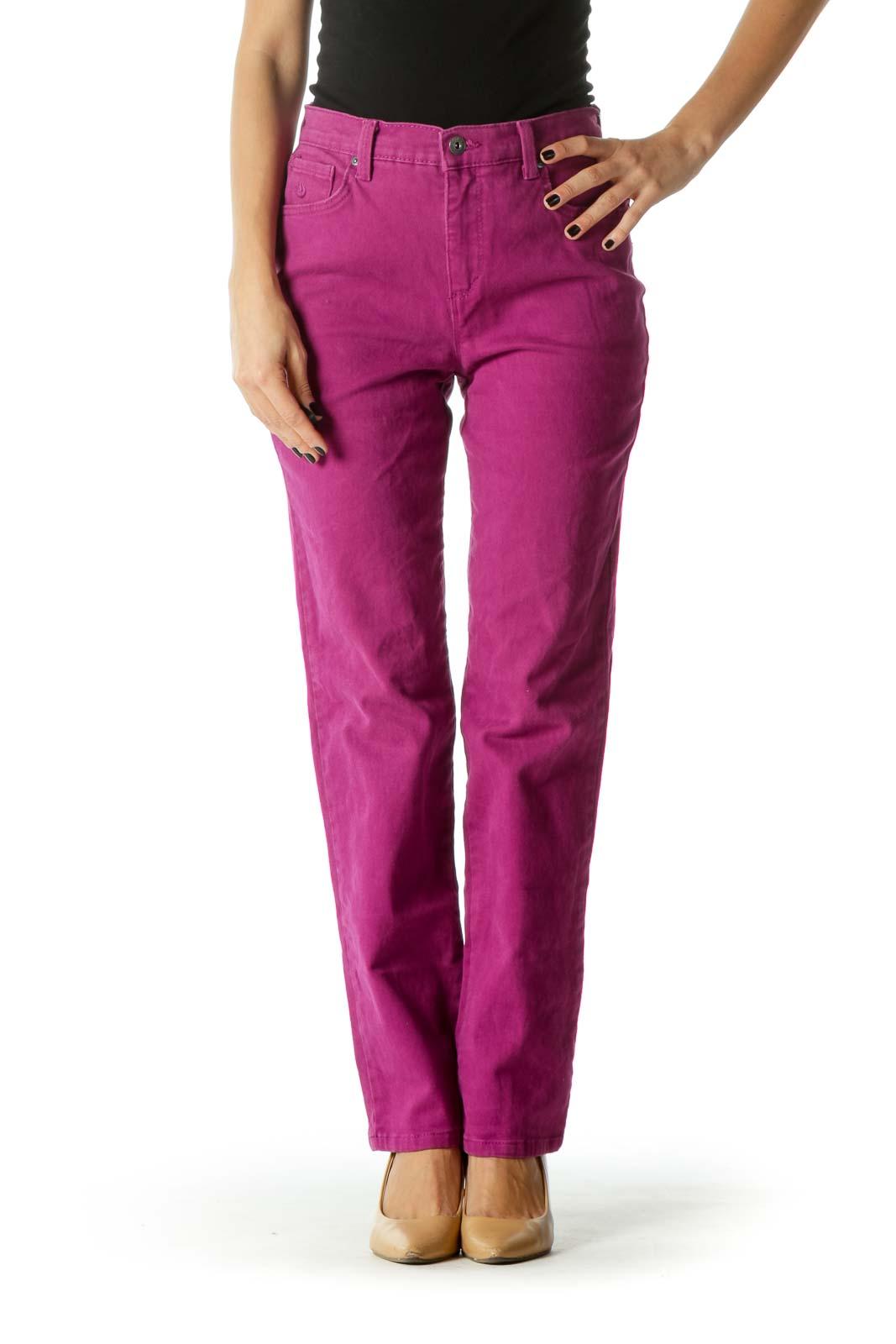 Purple High Waited Straight Leg Denim Jeans Front