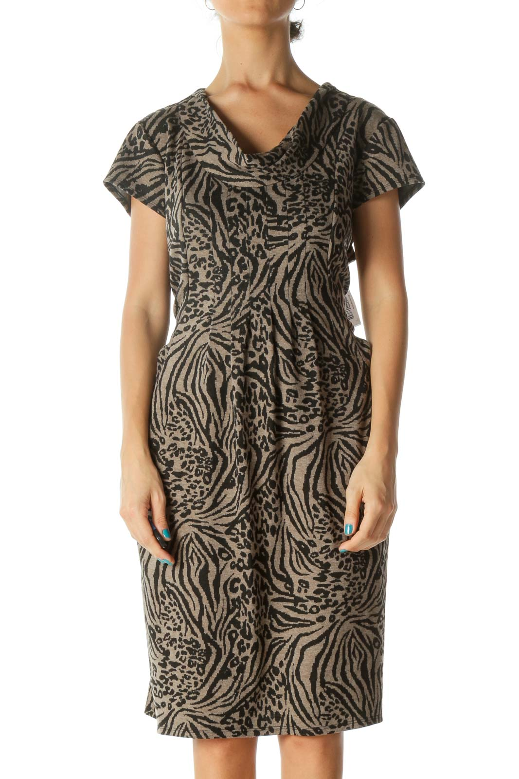 Brown and Black Animal Print Cowl Neck Cap Sleeve Knit Dress Front
