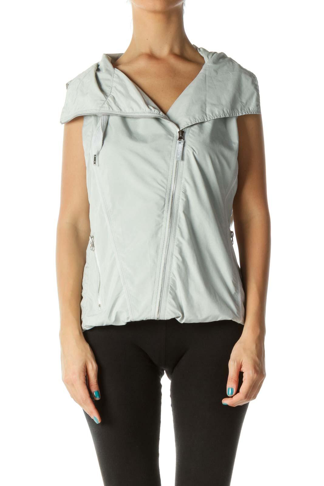 Gray Hooded Drawstring Mesh Lining Vest Front