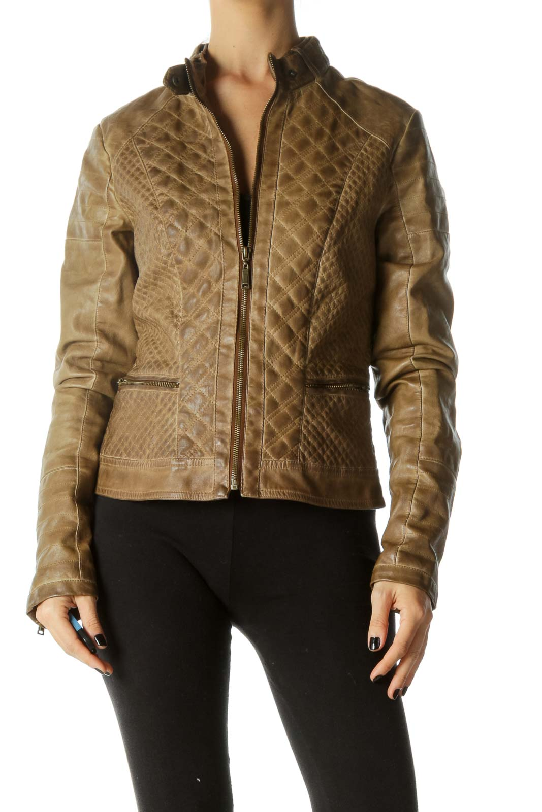 Brown Quilted Zippered Leather Jacket Front