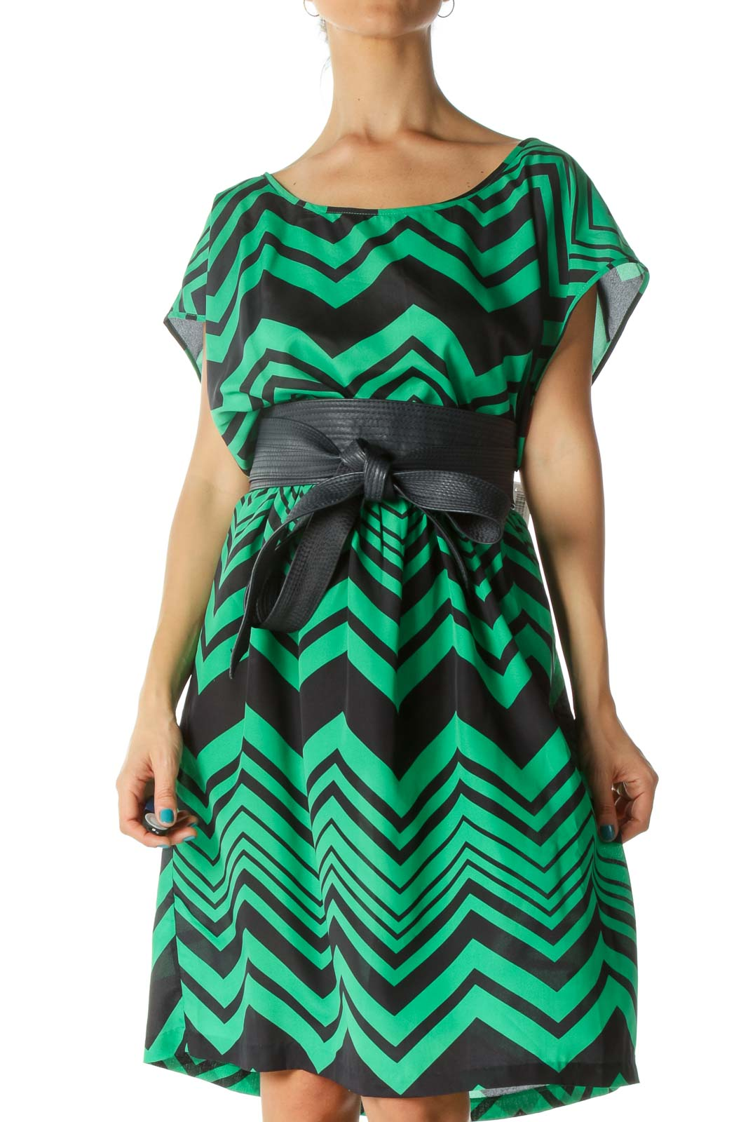Green and Blue Geometric Print Faux Leather Belted Day Dress Front