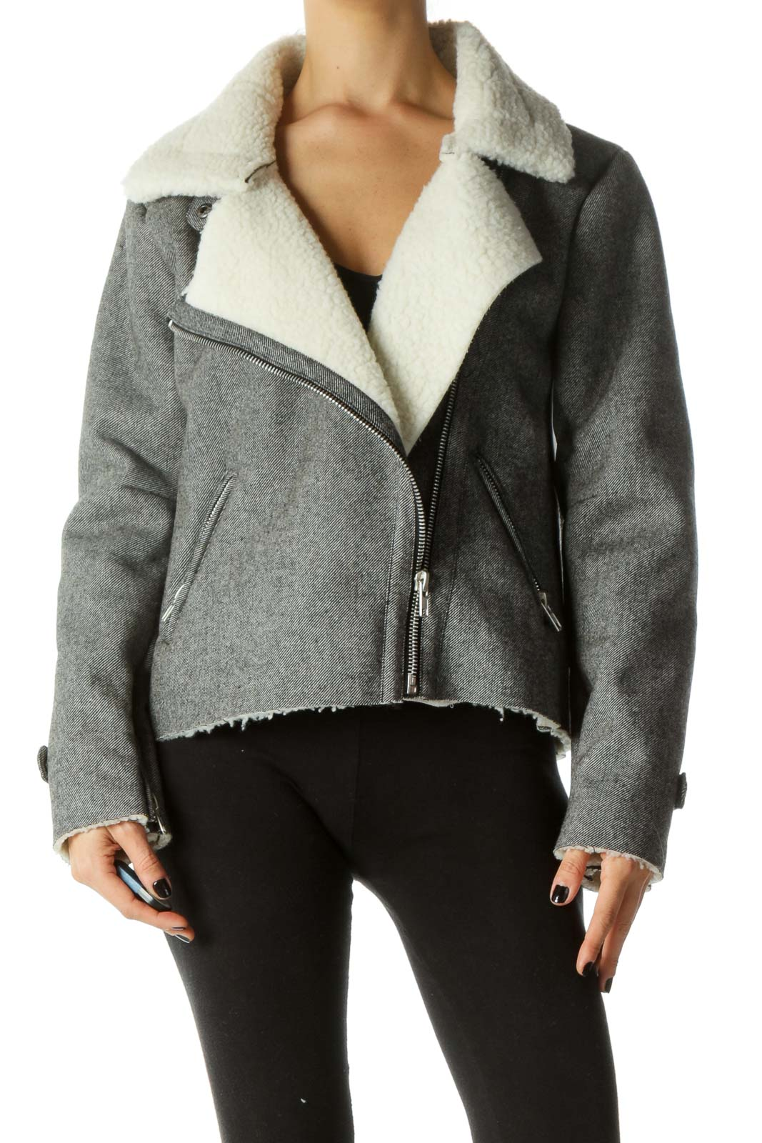 Gray & White Shearling Textured Zippered Jacket Front