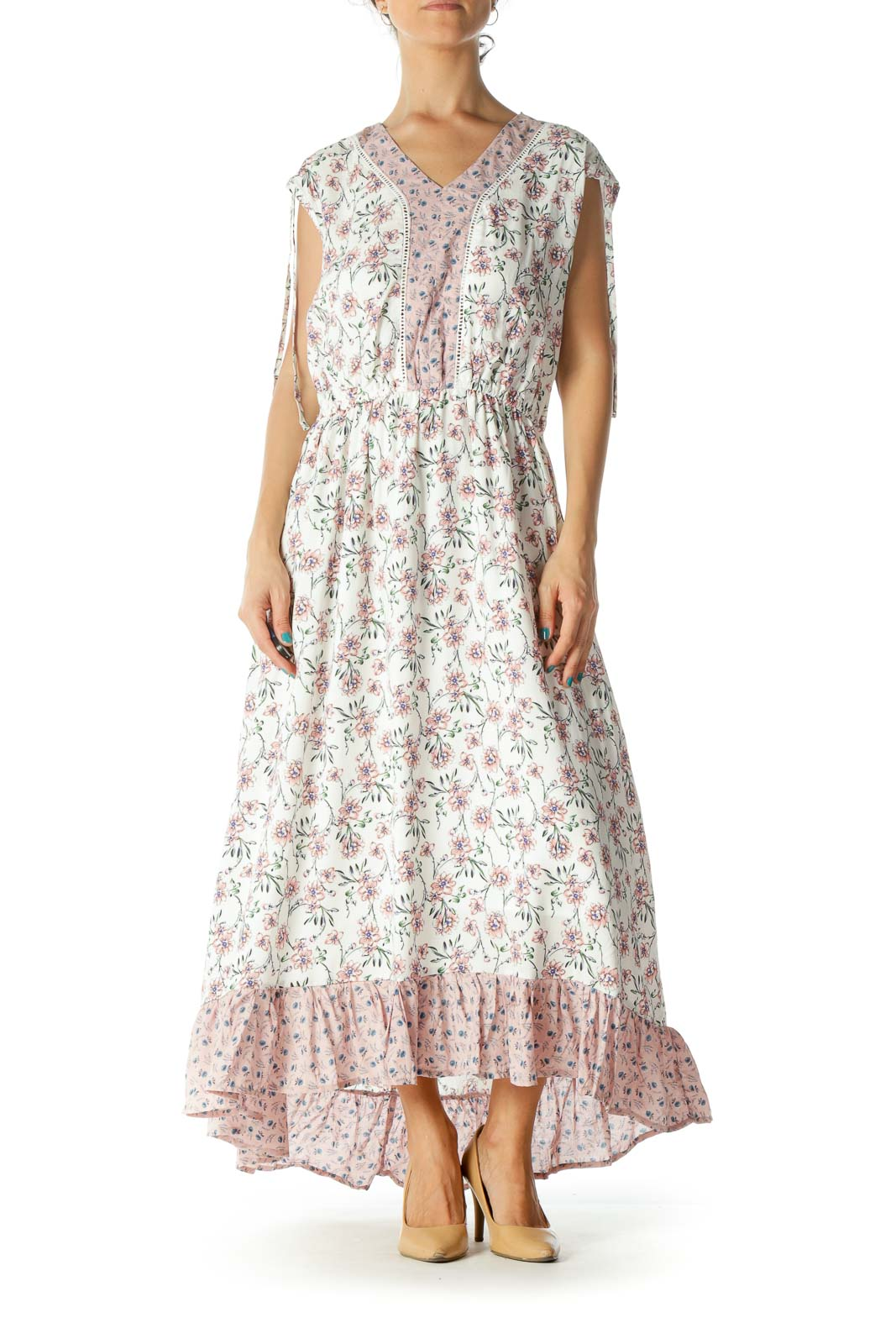 Cream and Pink Floral Maxi Dress Front