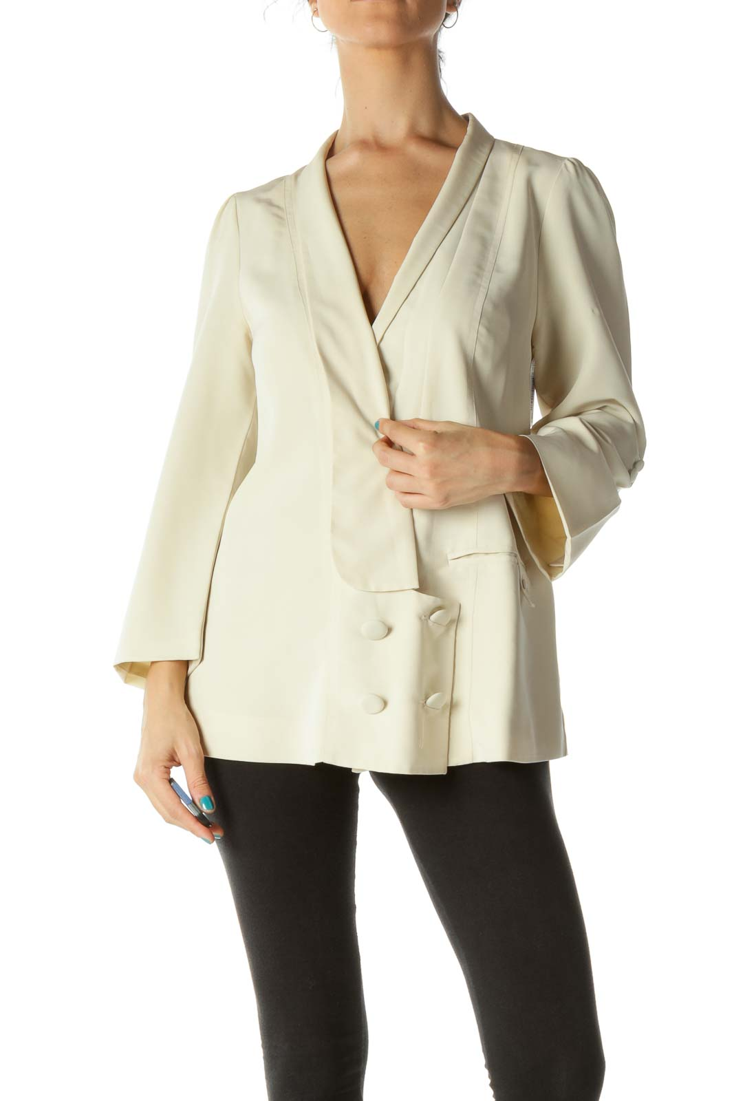 Cream Buttoned Suit Top Front