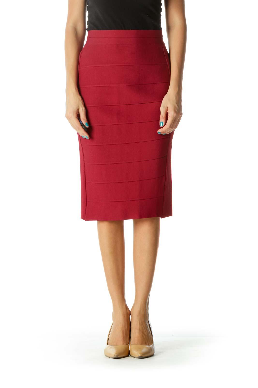 Burgundy Pencil Skirt Front