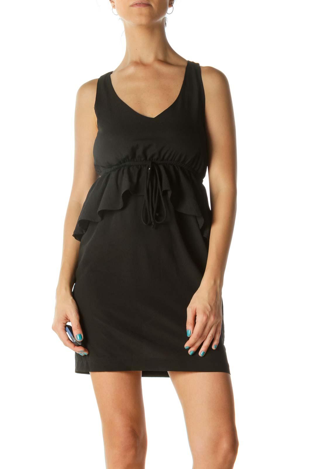 Black Round Neck Dress Front