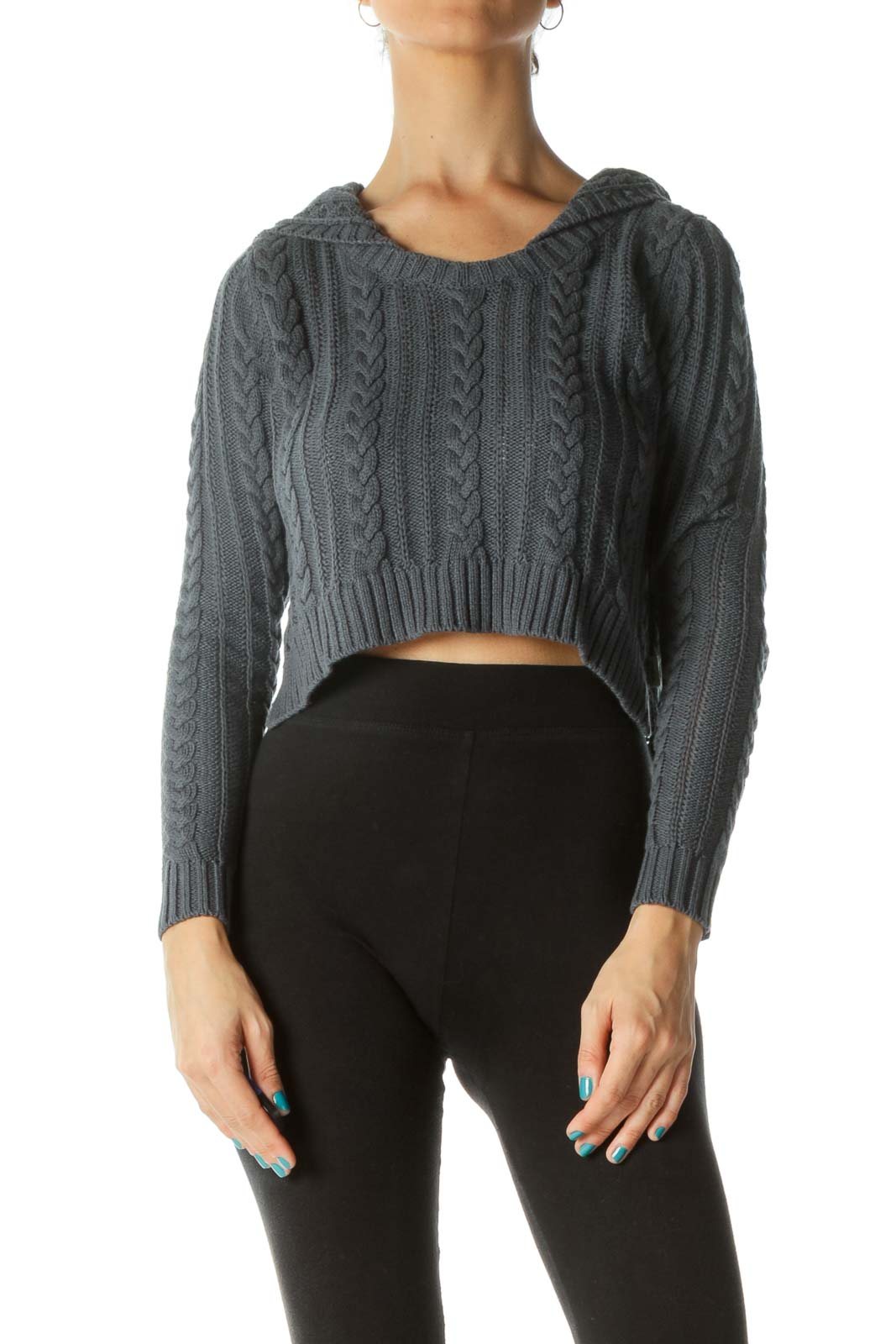 Navy Cropped Cable Knit Sweater Front