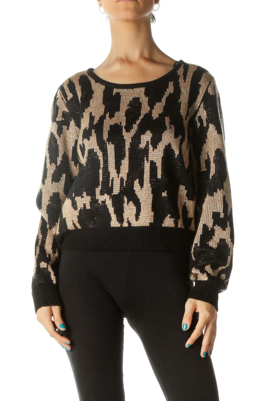 Black and Brown Print Knit Sweater Front