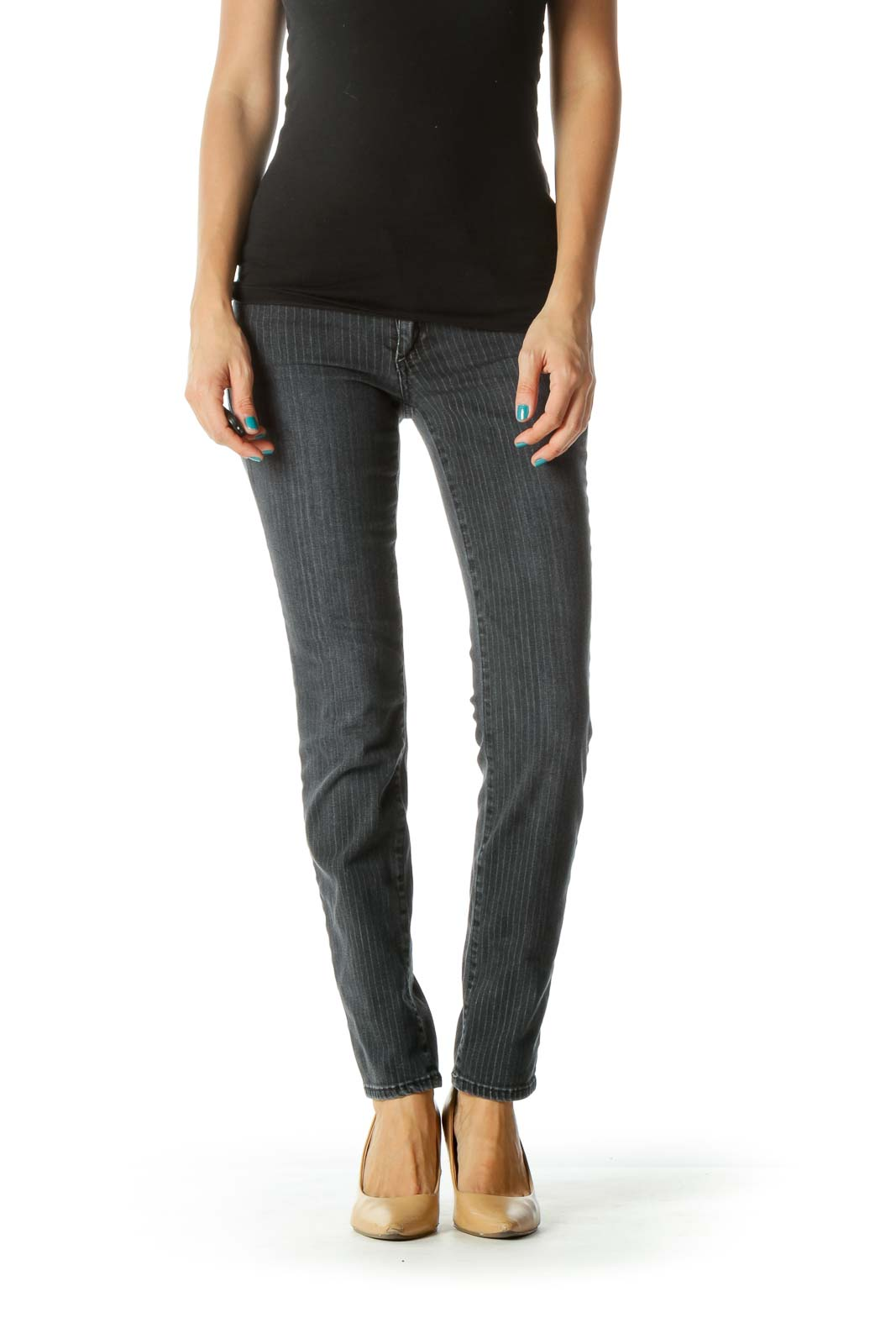 Gray Pinstripe Pocketed Skinny Jeans Front