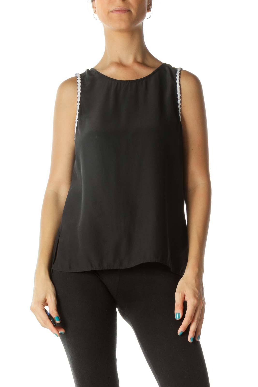 Black Open-Back Sleeveless Blouse Front