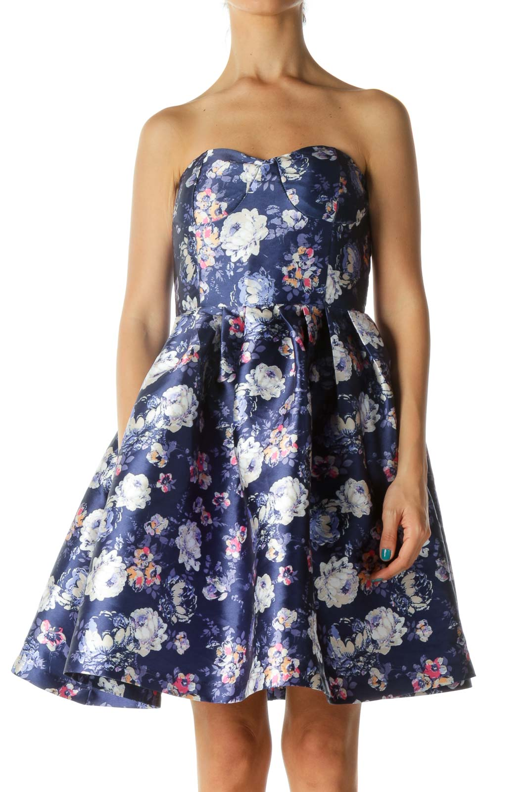 Purple Strapless Floral Print Cocktail Dress Front
