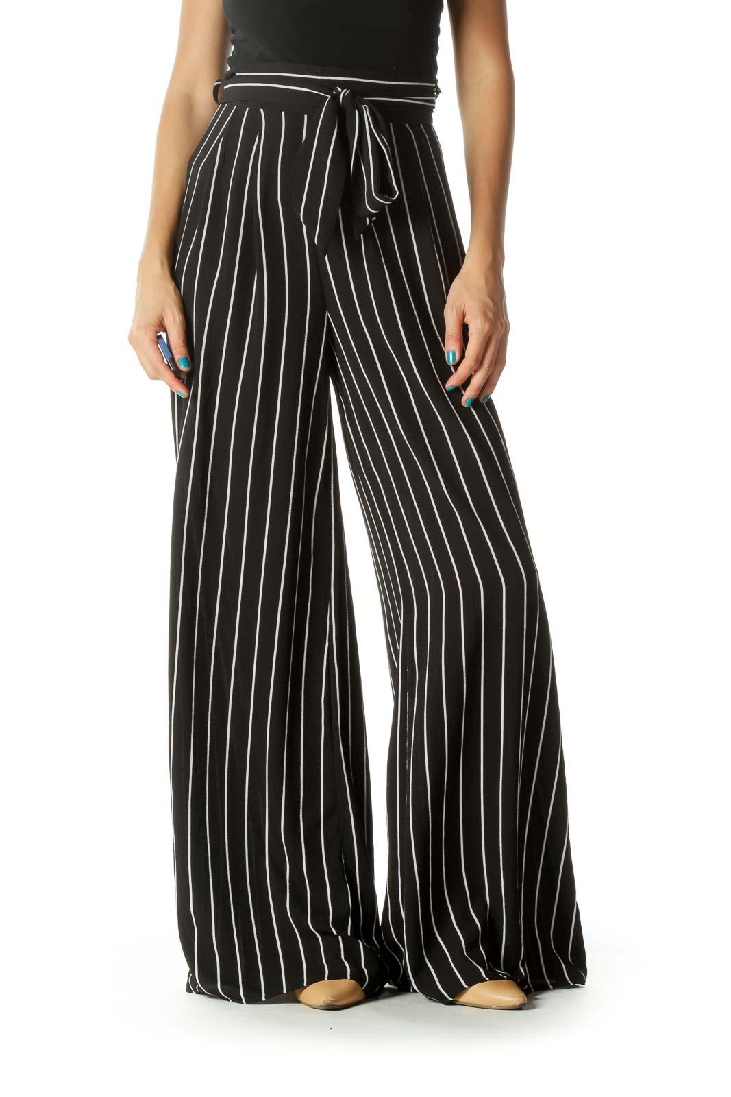 Black & White Waist Tie Zippered Wide-Leg Pants Front