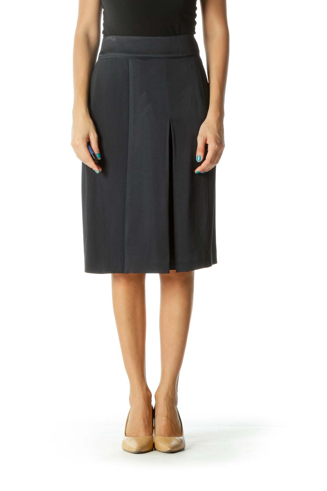 Navy Pleated Pocketed Skirt Front