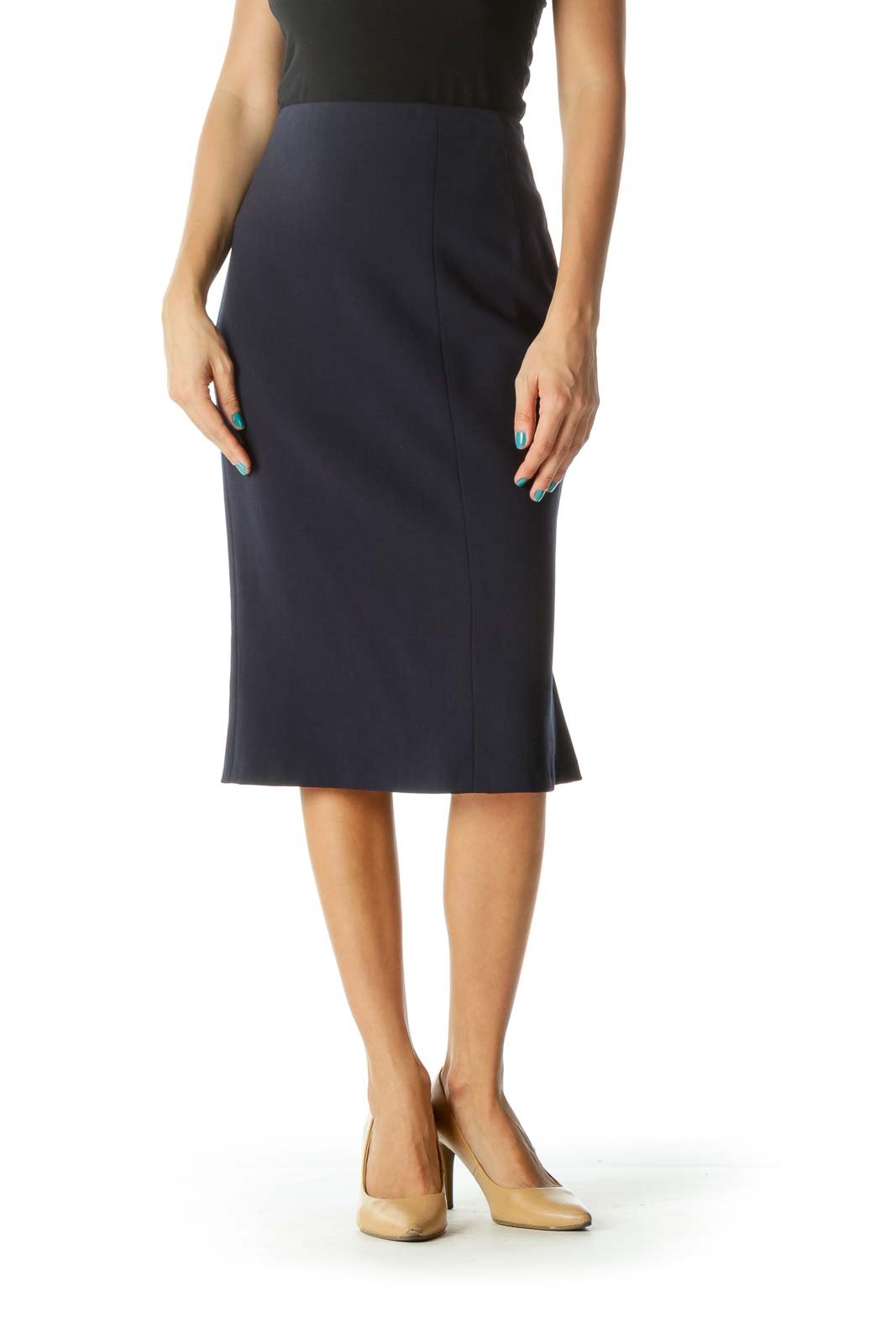 Navy Pleated Zippered Pencil Skirt Front