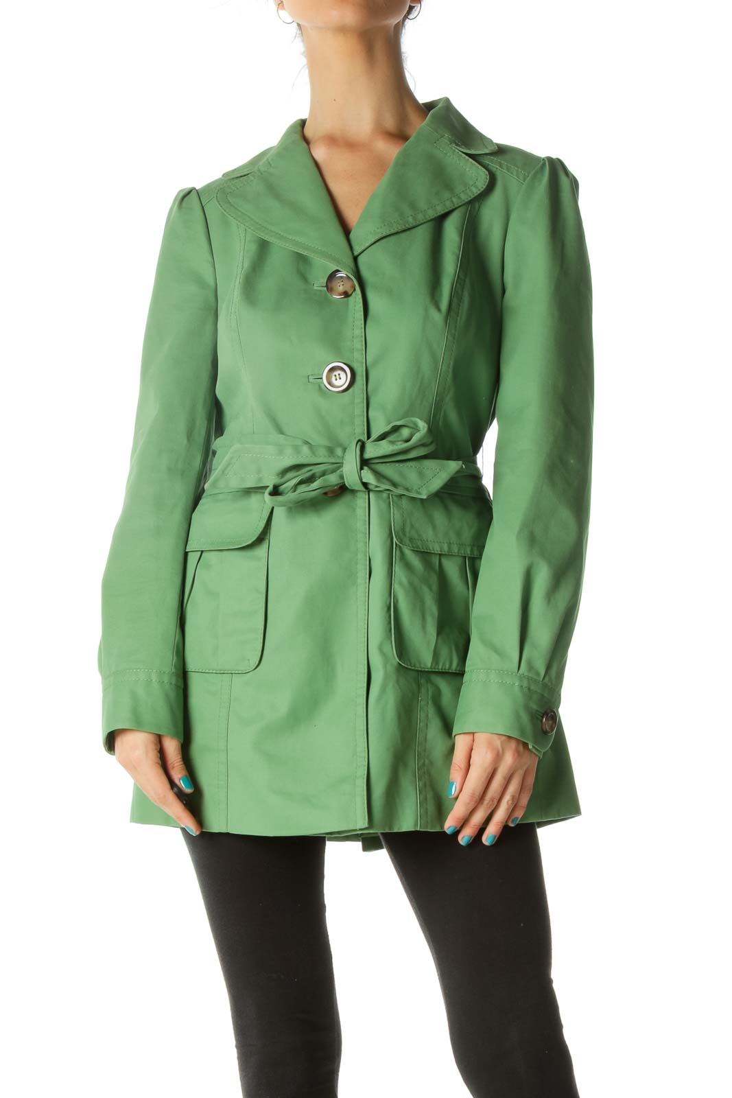 Green Waist Tie Pocketed Trench Coat Front
