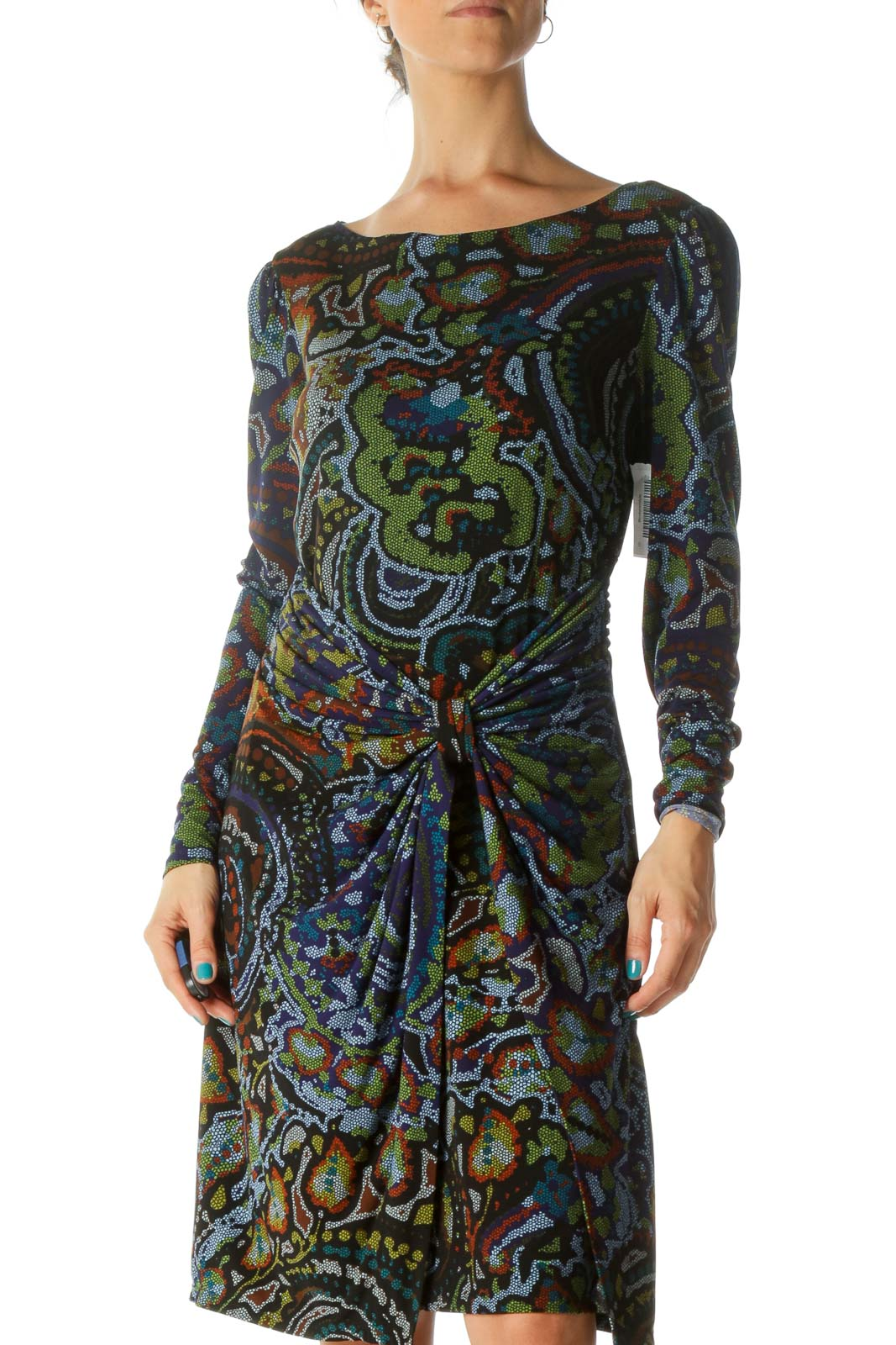 Blue and Green Multicolor Print Long Sleeve Work Dress Front
