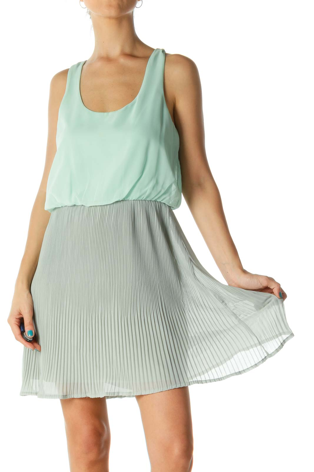 Green & Gray Round Neck Pleated Day Dress Front