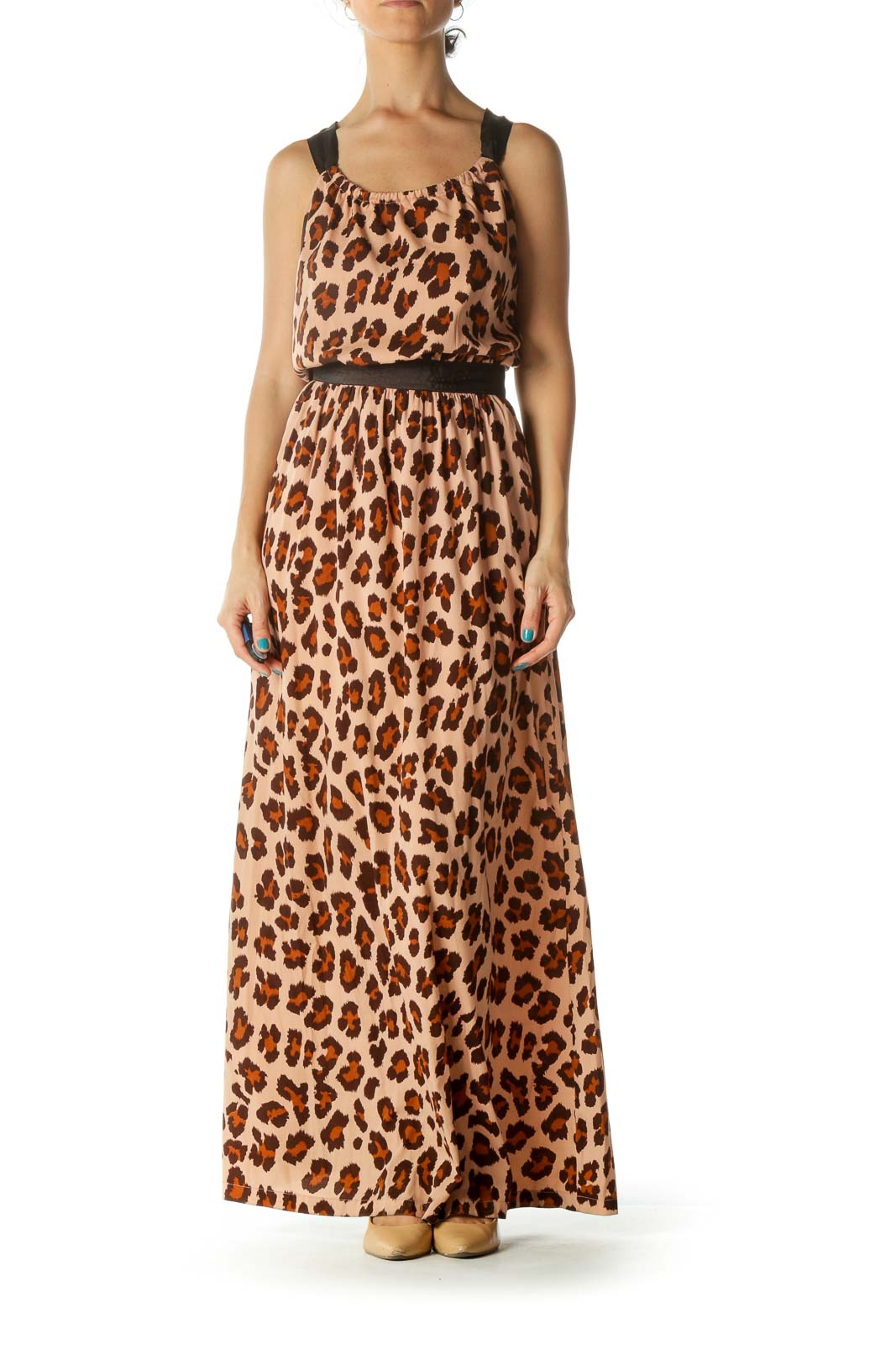 Brown and Orange Animal Print Maxi Dress Front