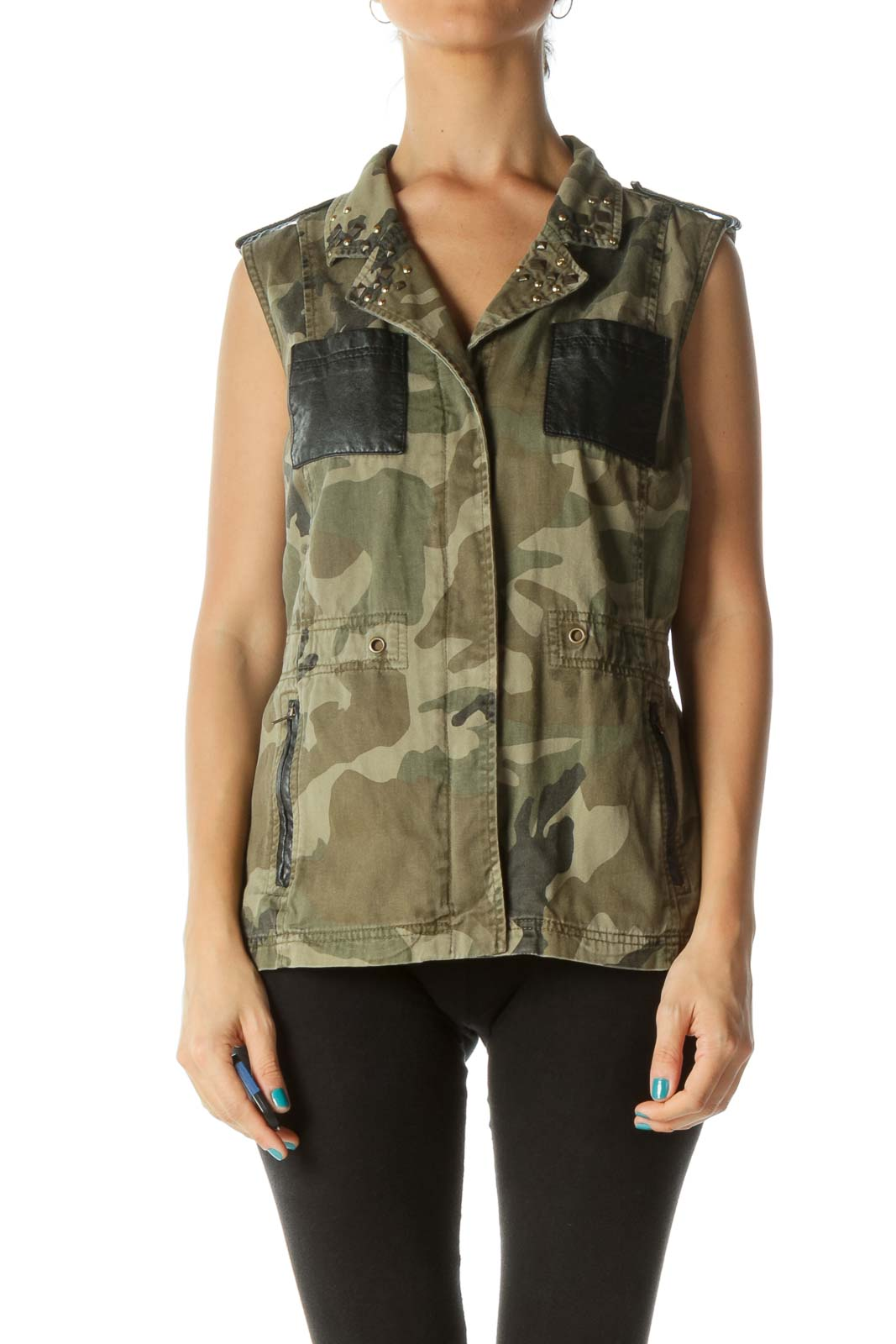 Green Black Camo Print Studded Vest Front