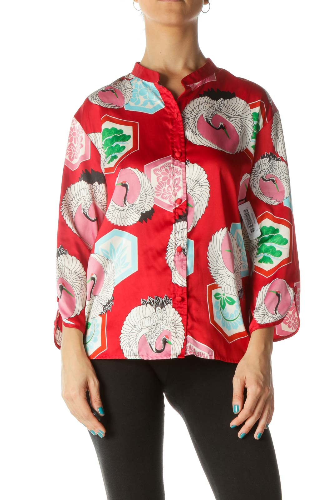 Red Blue Pink Bird Print Soft Shirt Front
