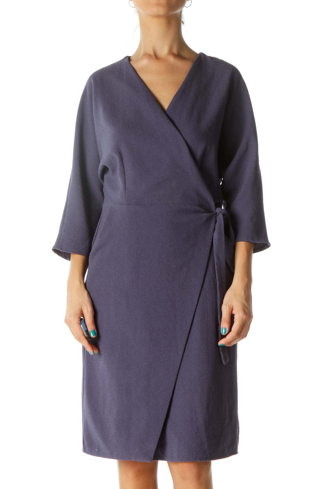 Blue Wrap Textured 3/4 Sleeve Dress Front