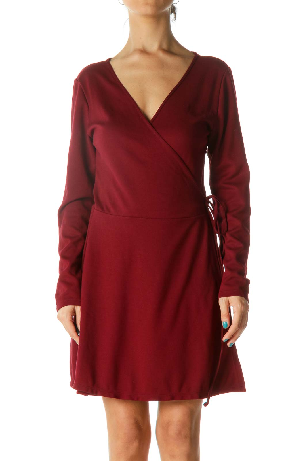 Dark Red Wrap Long Sleeve Dress Front