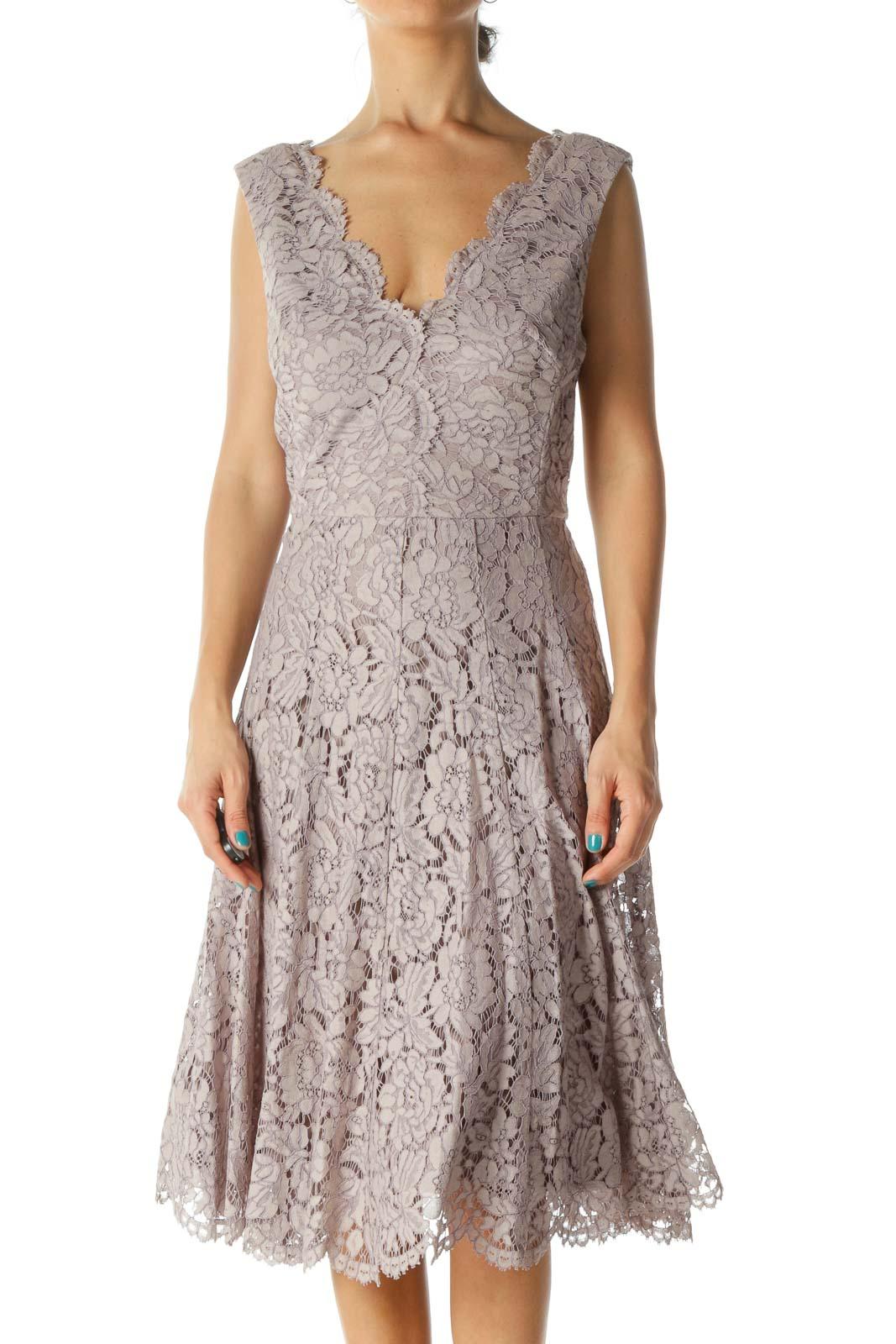 Light Purple V-Neck Lace Flared Dress Front