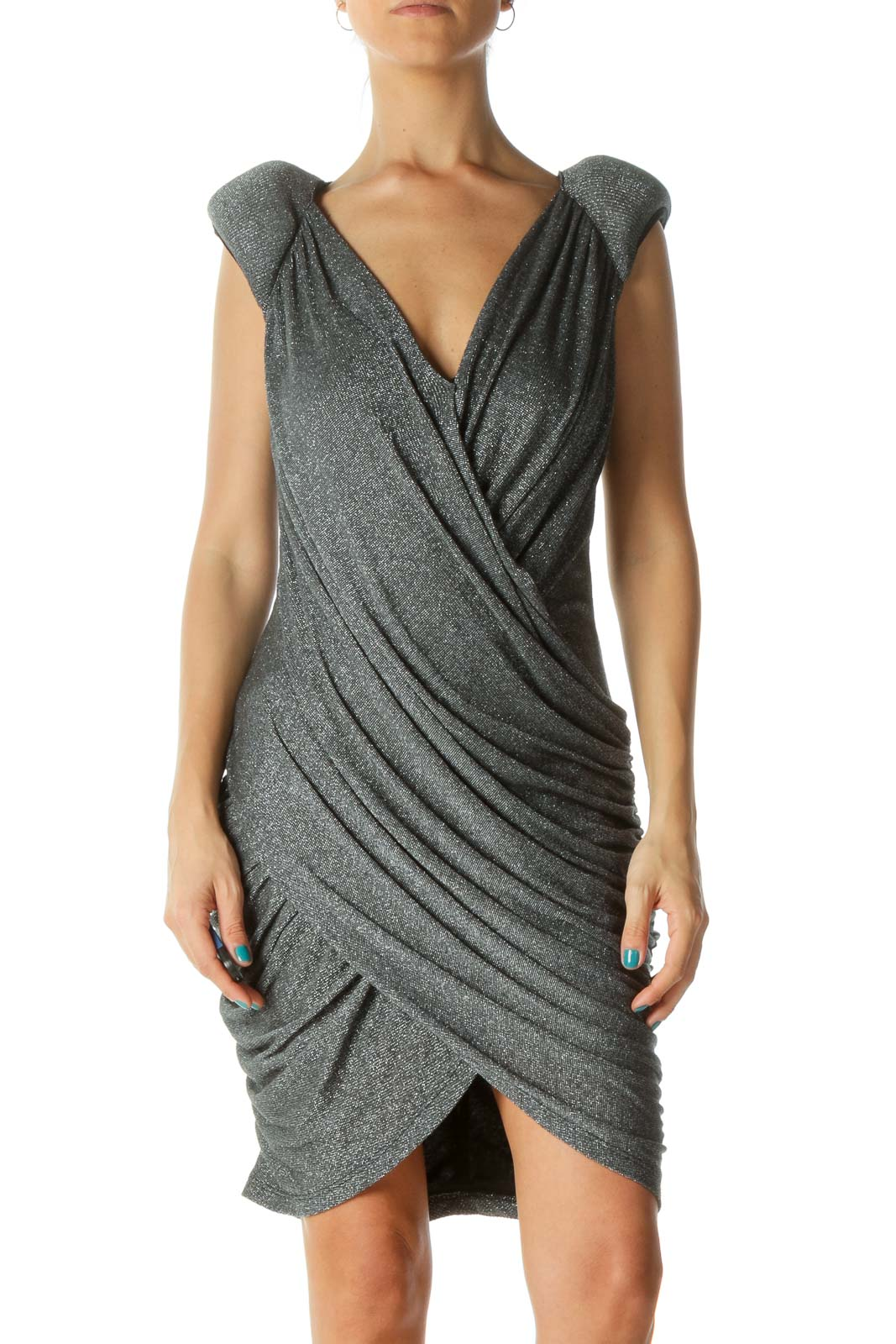 Silver Black Scrunched V-Neck Dress Front