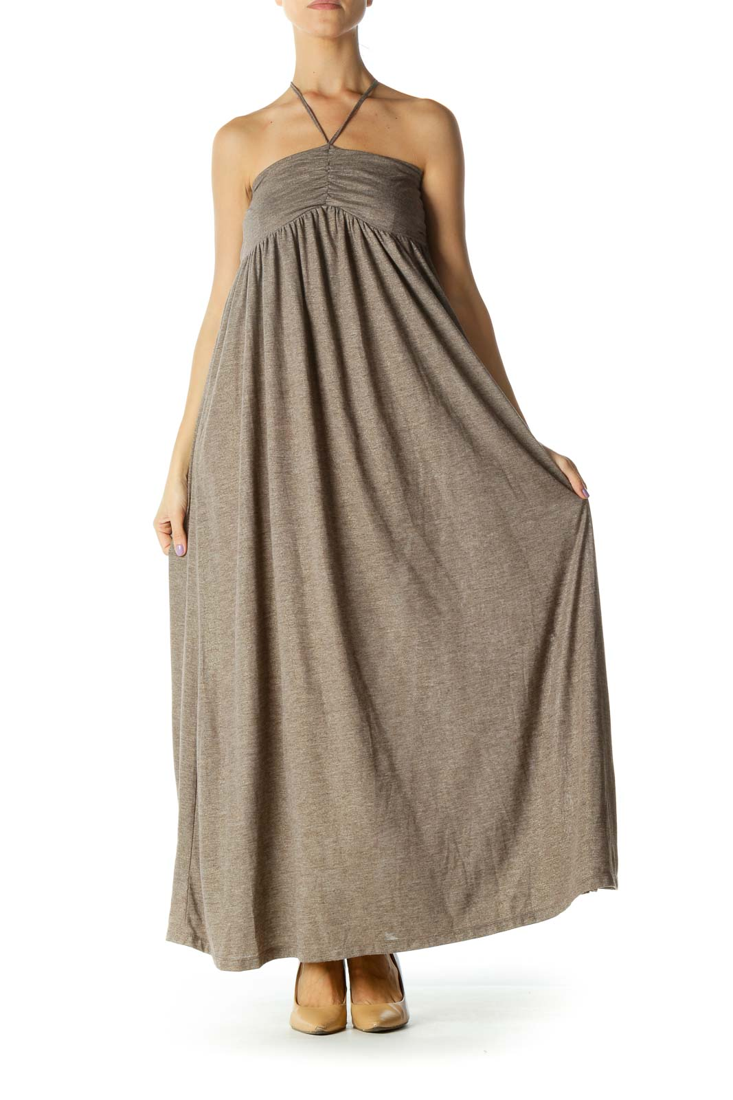 Beige Gold Sparkle Strapless Jersey-Knit Day Dress Front