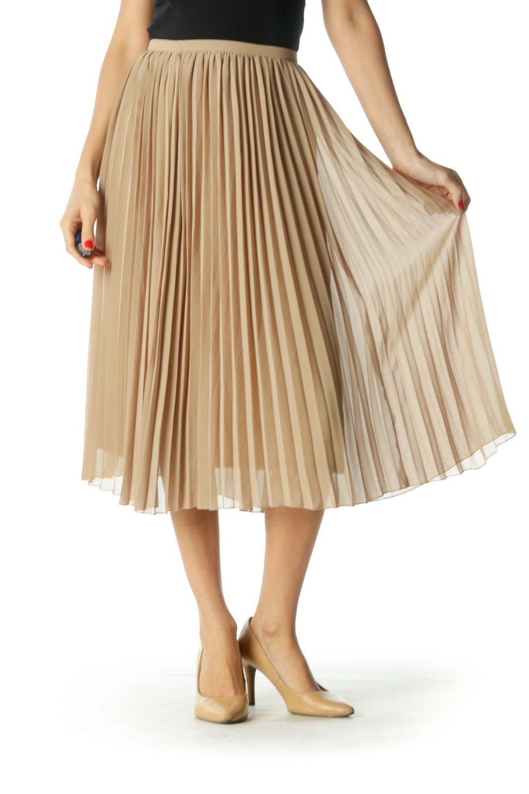 Brown Pleated Midi Skirt Front