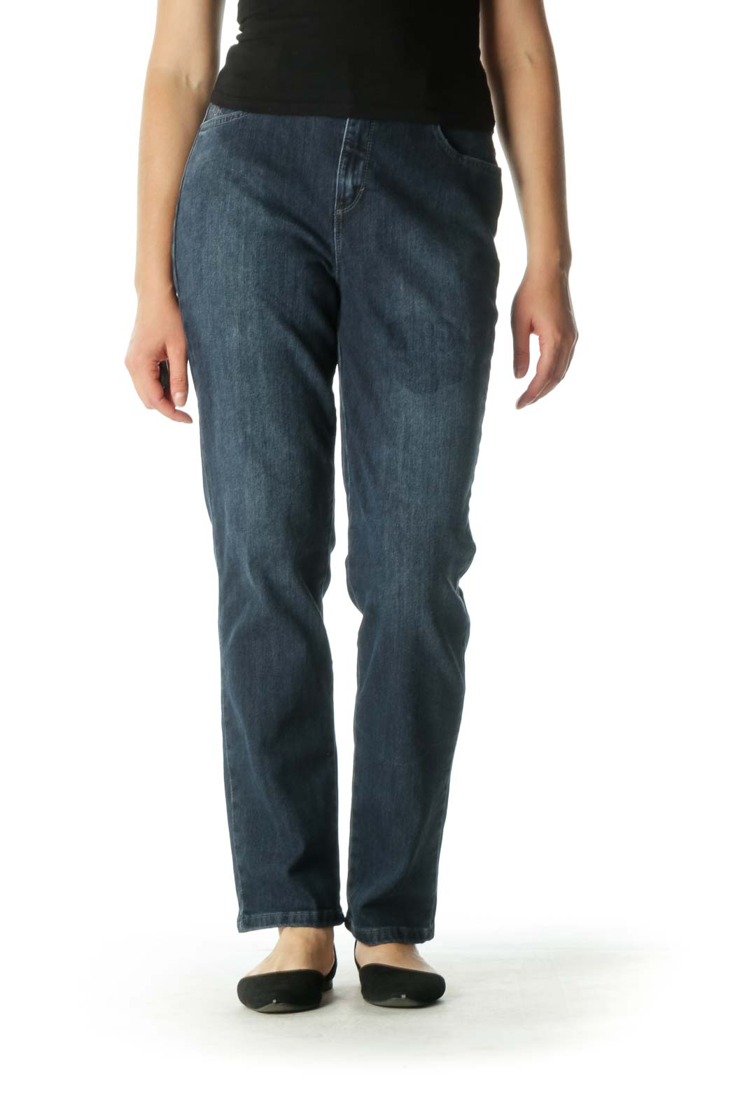 Blue Embellished Tapered Jeans Front