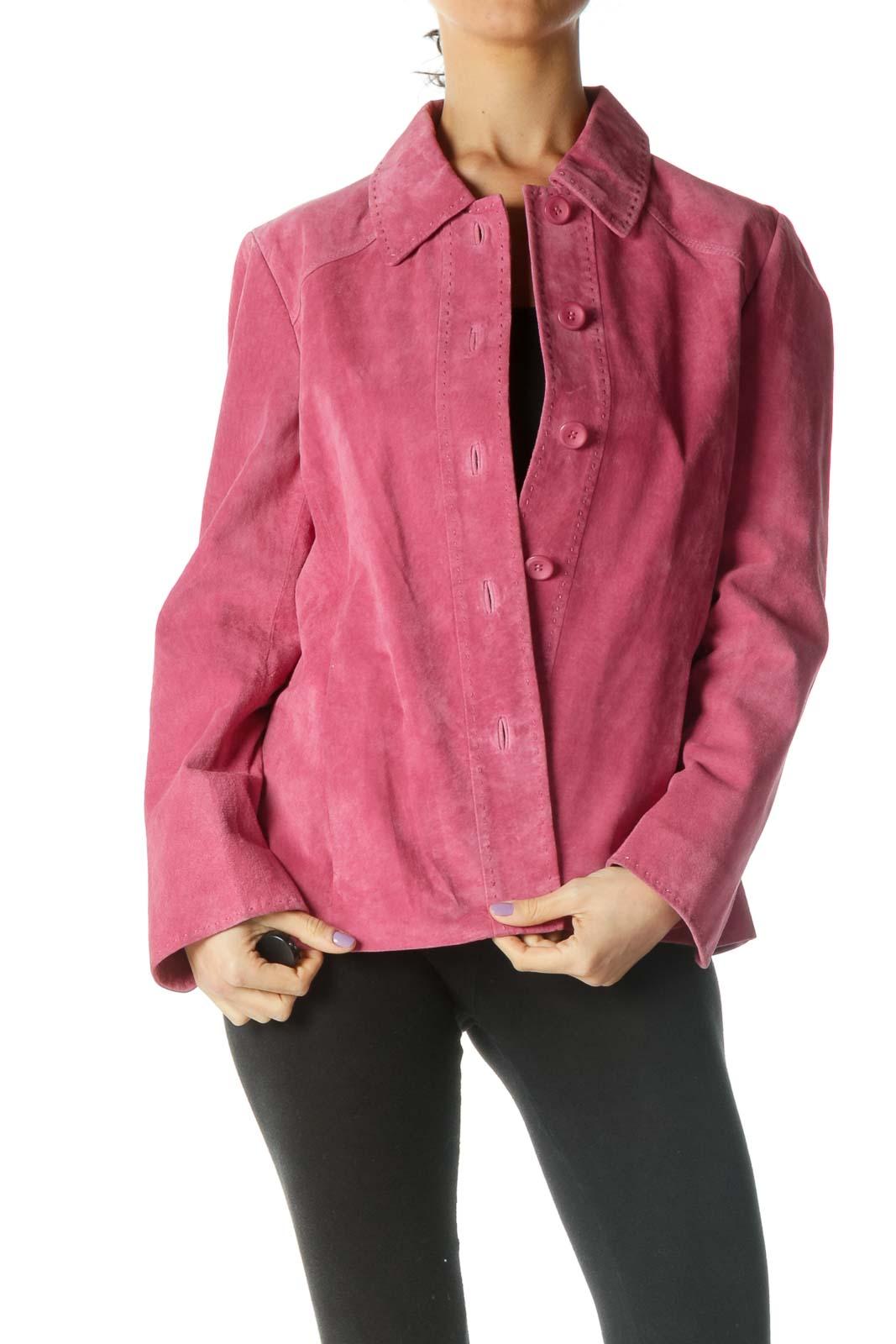 Pink Suede Jacket Front