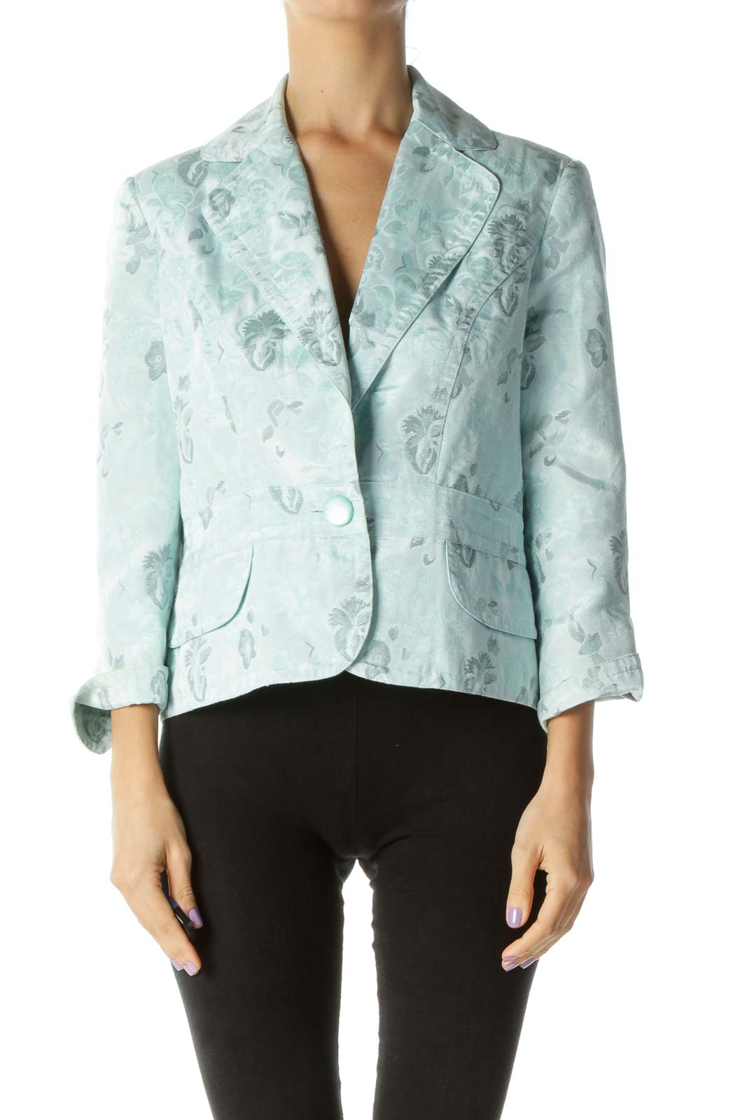 Light Blue Floral Print Blazer Front