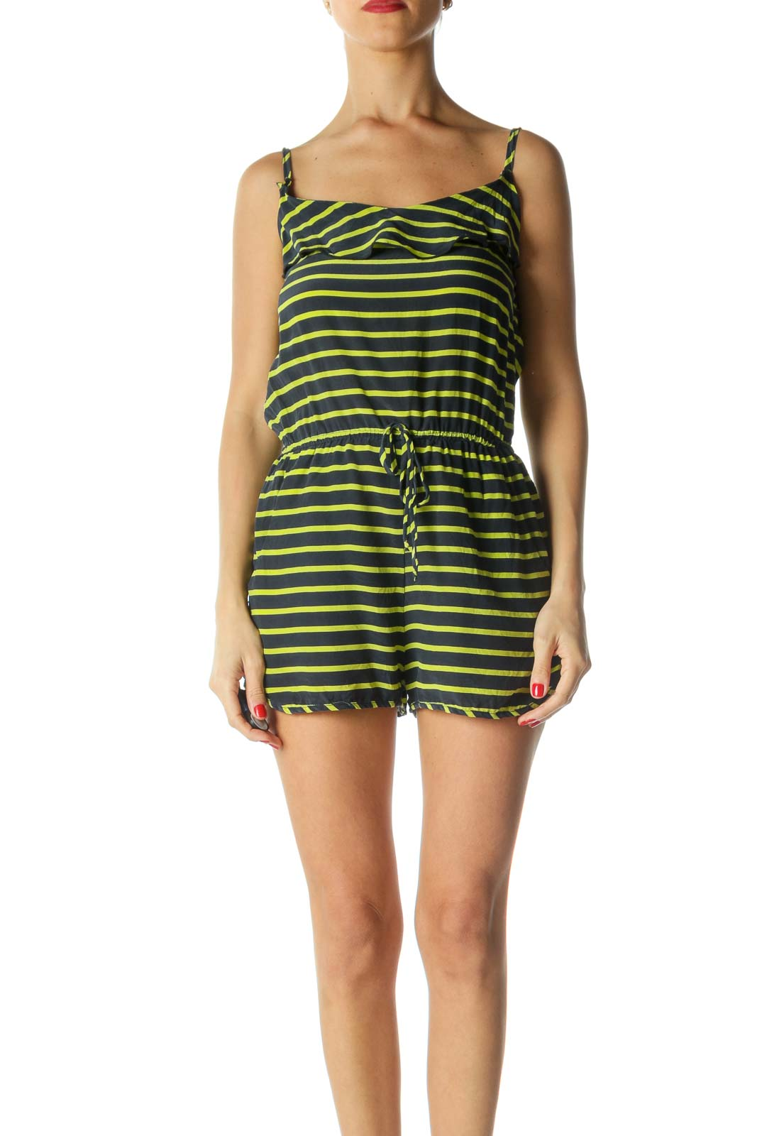 Green 100% Silk Striped Flare Detail Romper Front