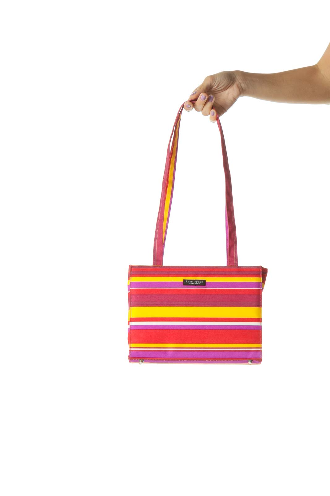 Red and Purple Multicolor Striped Shoulder Bag Front