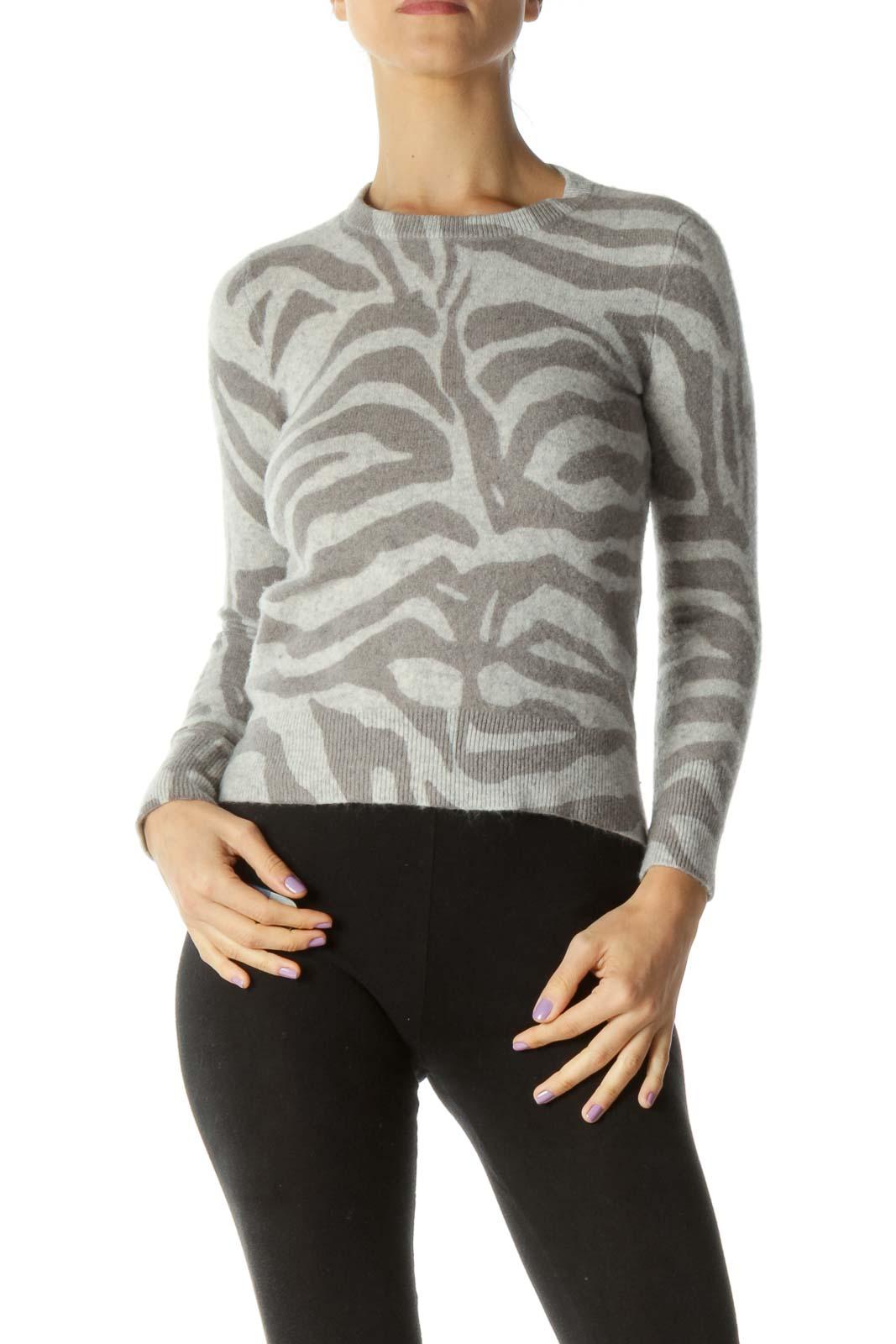 Gray Zebra Print Cashmere Sweater Front