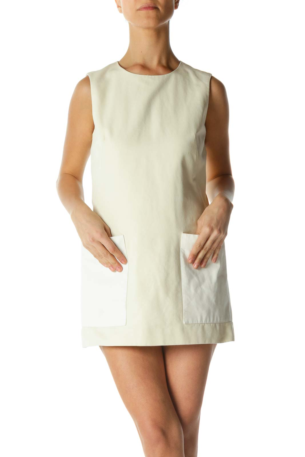 Cream Pocketed Shift Dress Front