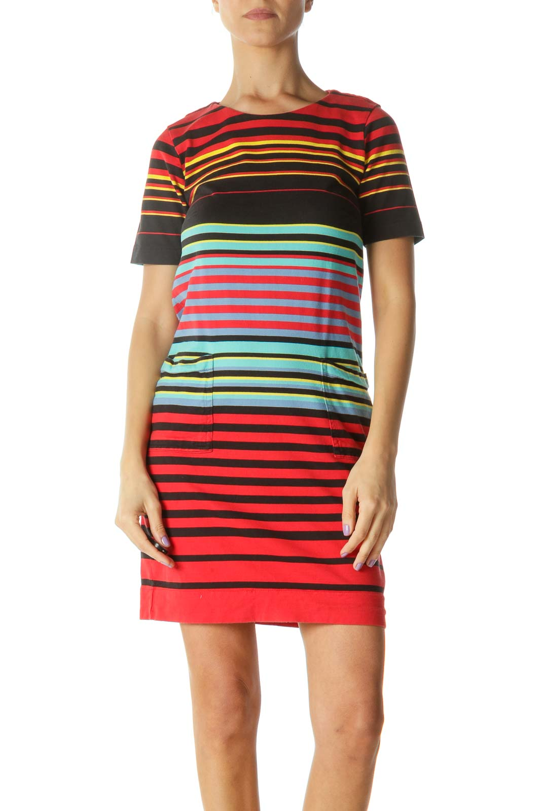 Red Multicolor Striped Shift Dress Front