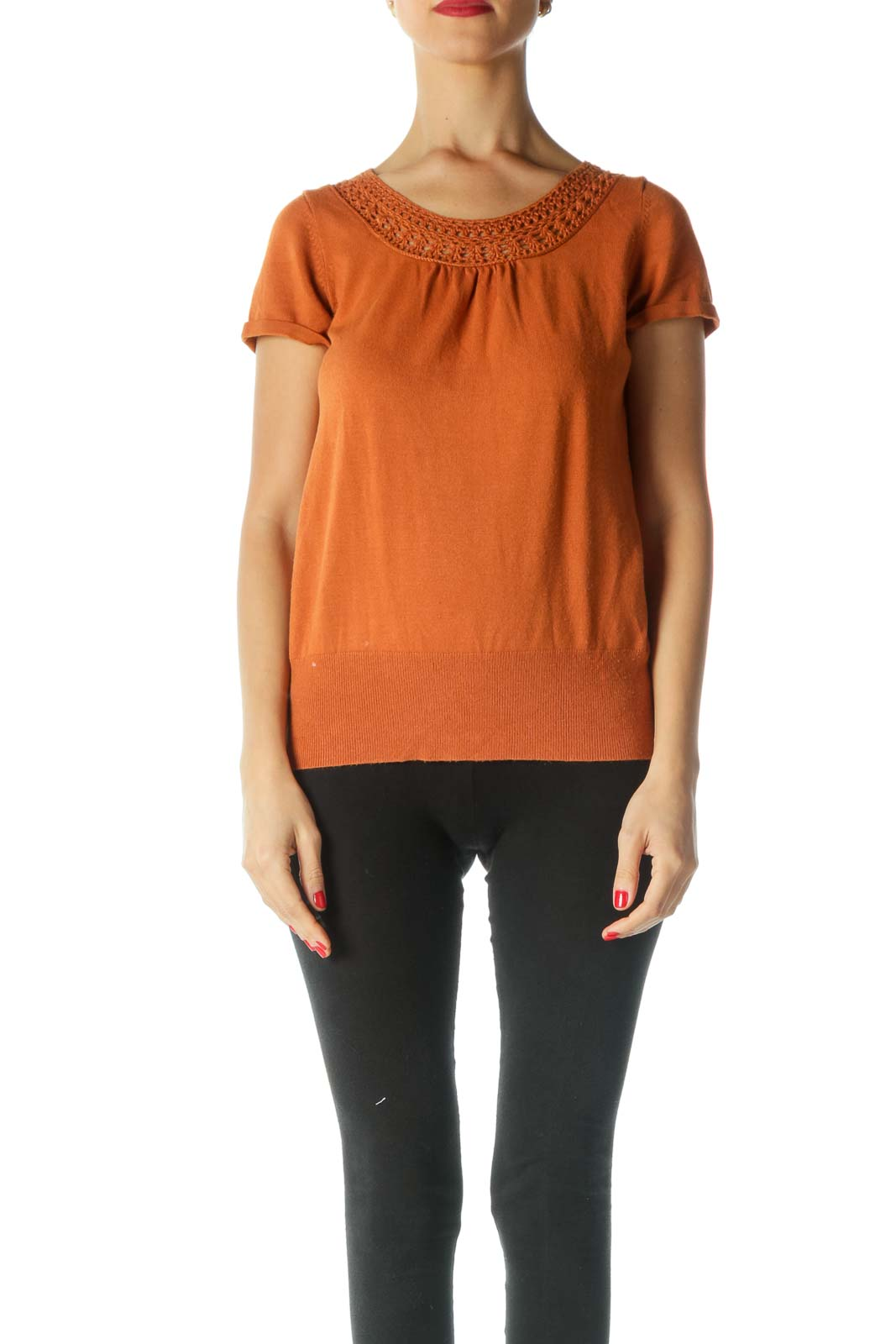 Orange Short Sleeve Knit Front